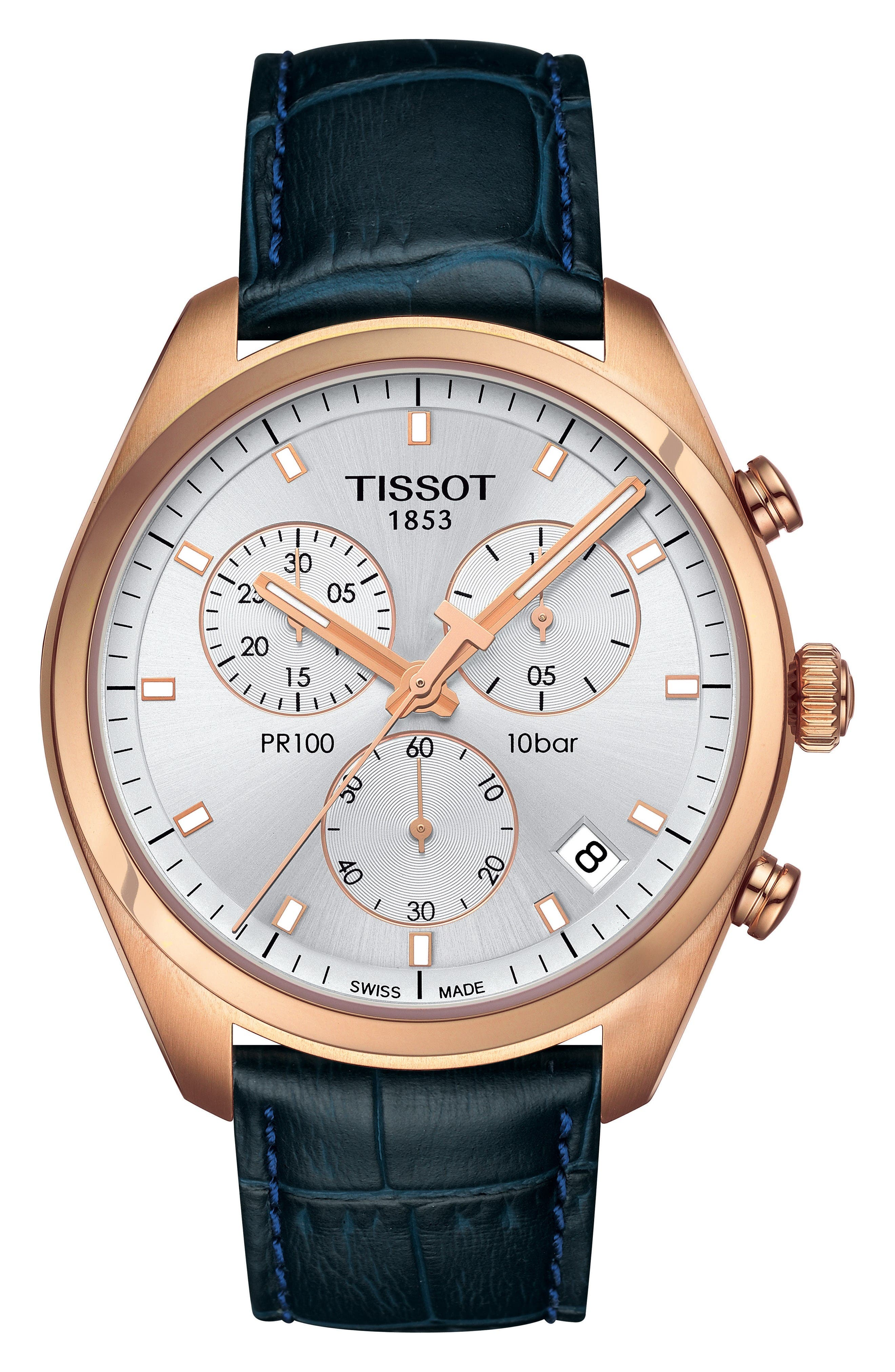 PR100 Chronograph Leather Strap Watch, 41mm,                             Main thumbnail 1, color,                             Navy/ White/ Rose Gold