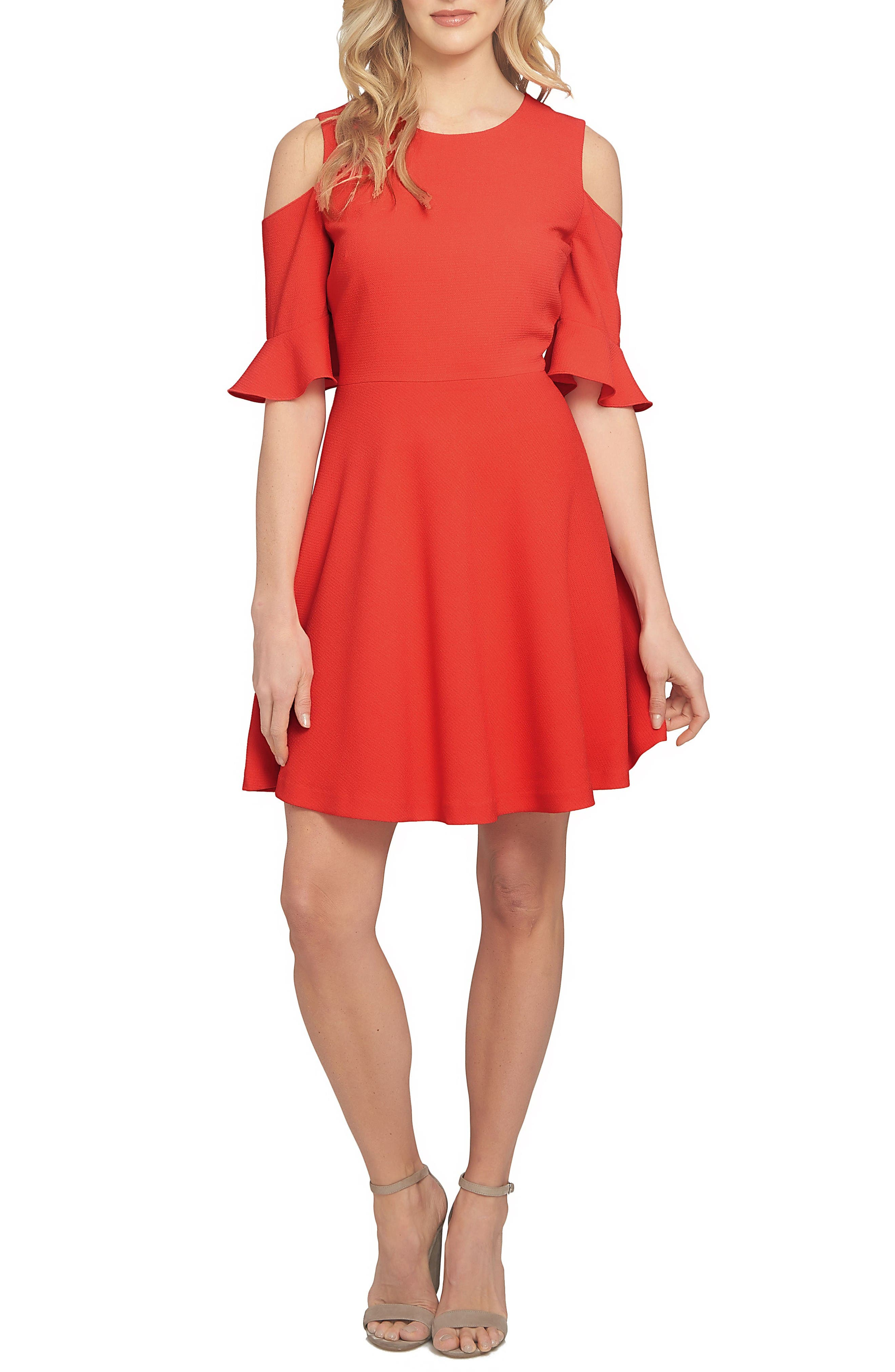 Emily Cold Shoulder Fit & Flare Dress,                         Main,                         color, Pomegranates