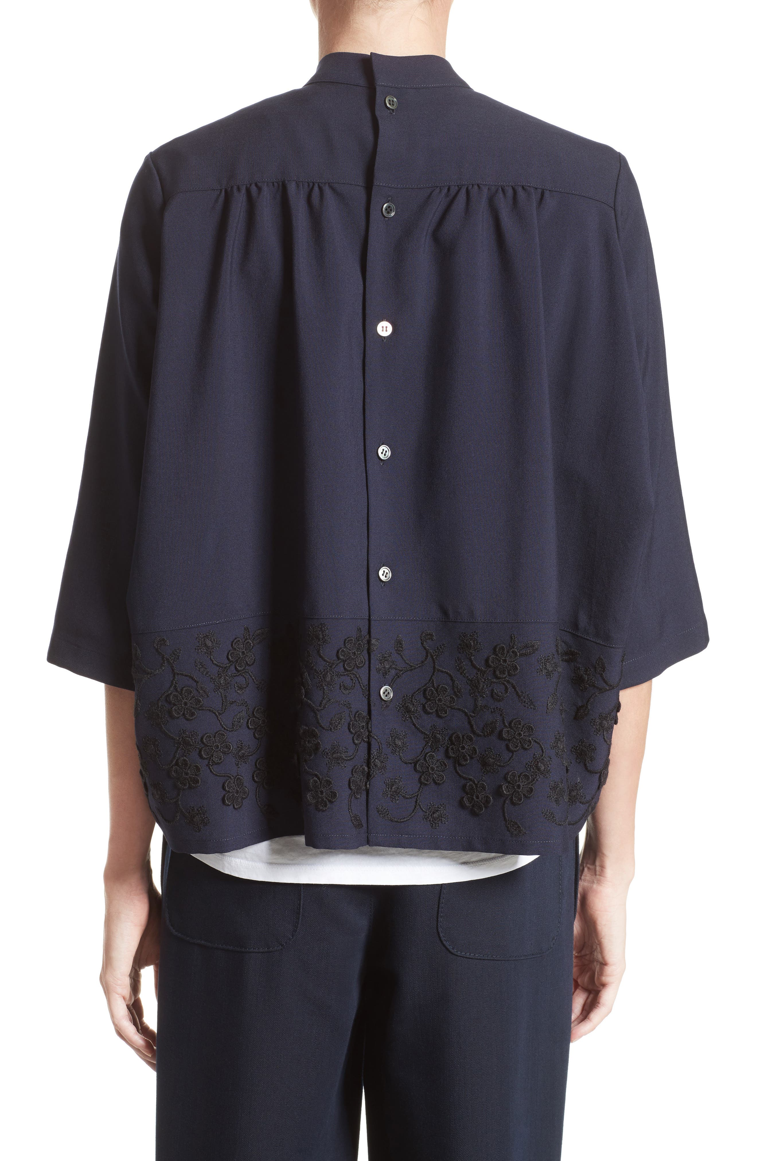 Floral Embroidered Wool Blouse,                             Alternate thumbnail 2, color,                             Navy Black