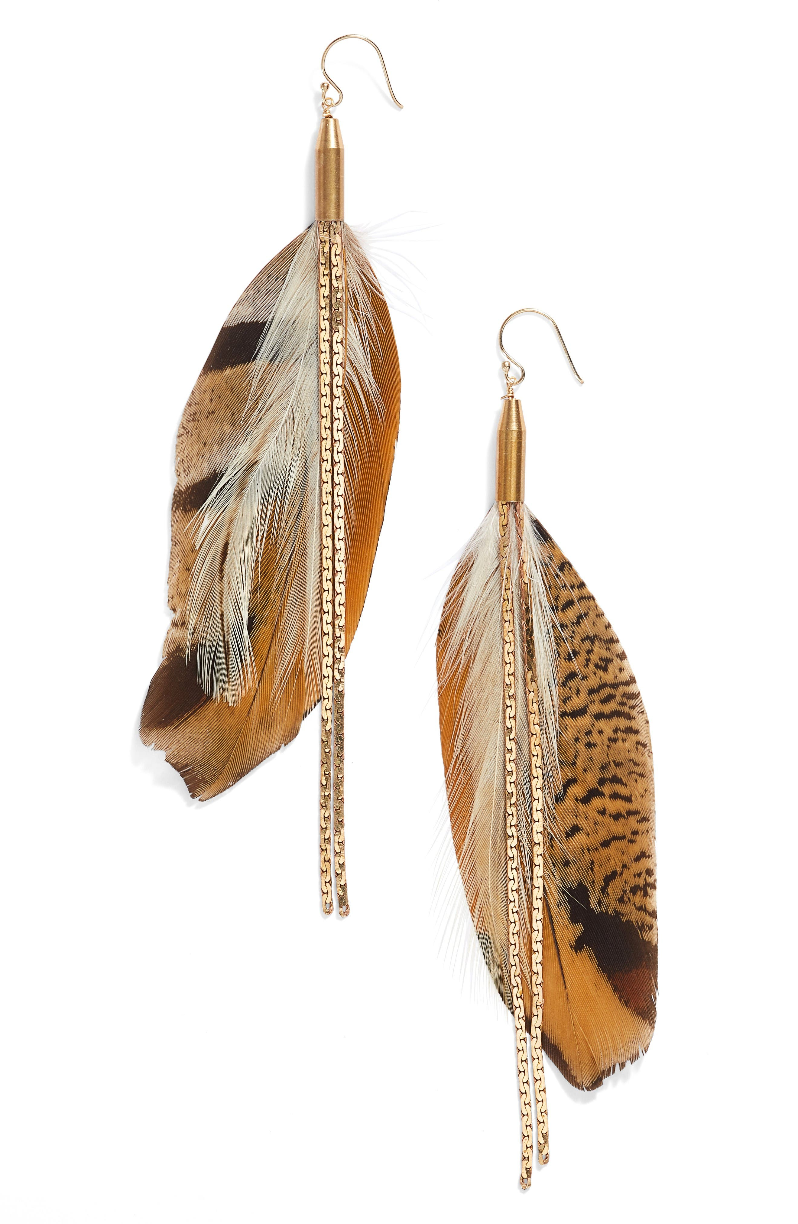 Vintage Feather Drop Earrings,                             Main thumbnail 1, color,                             Brown/ Gold