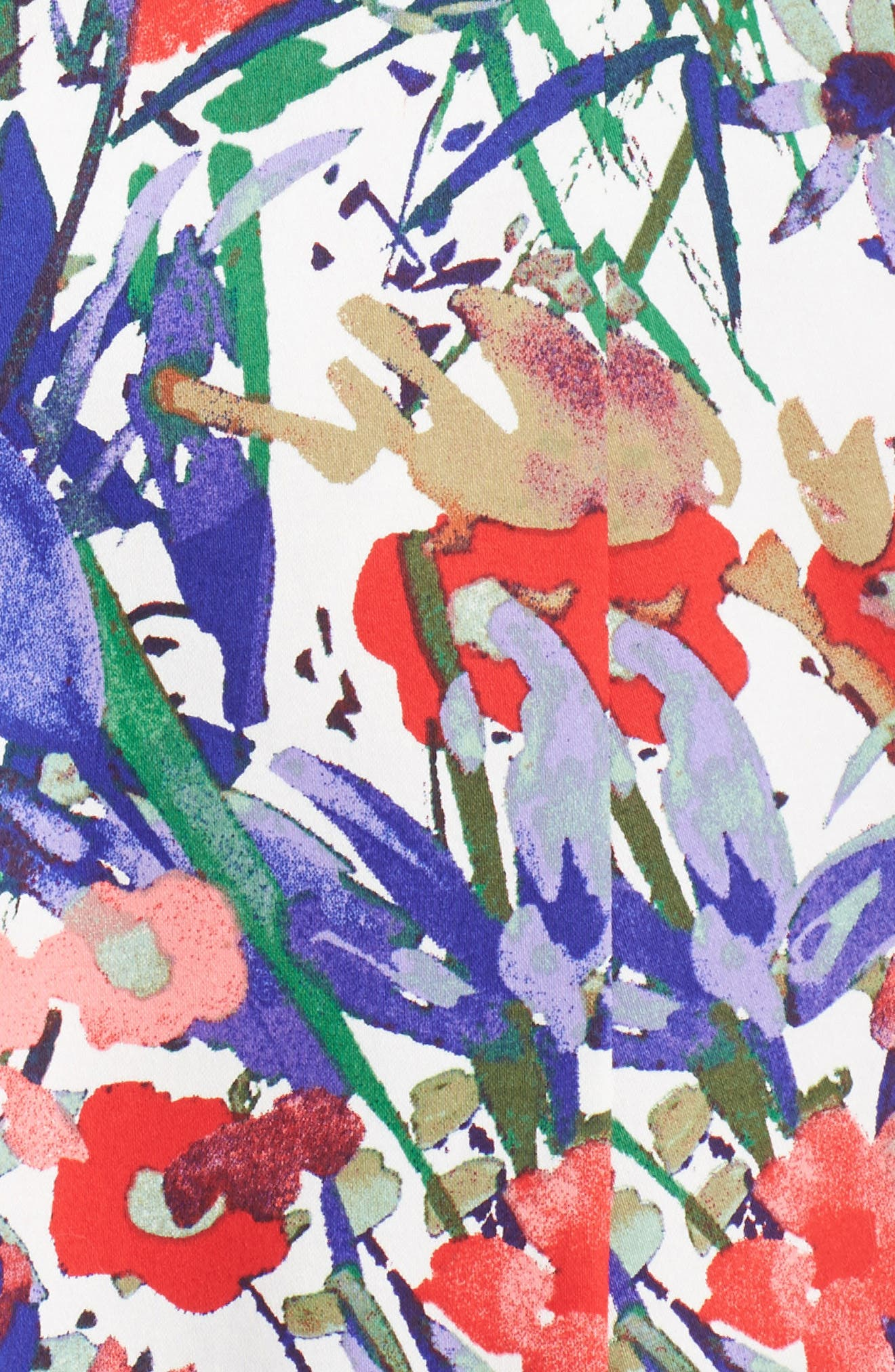 Cottage Garden Fit & Flare Dress,                             Alternate thumbnail 5, color,                             Soft White/ Coral/ Purple