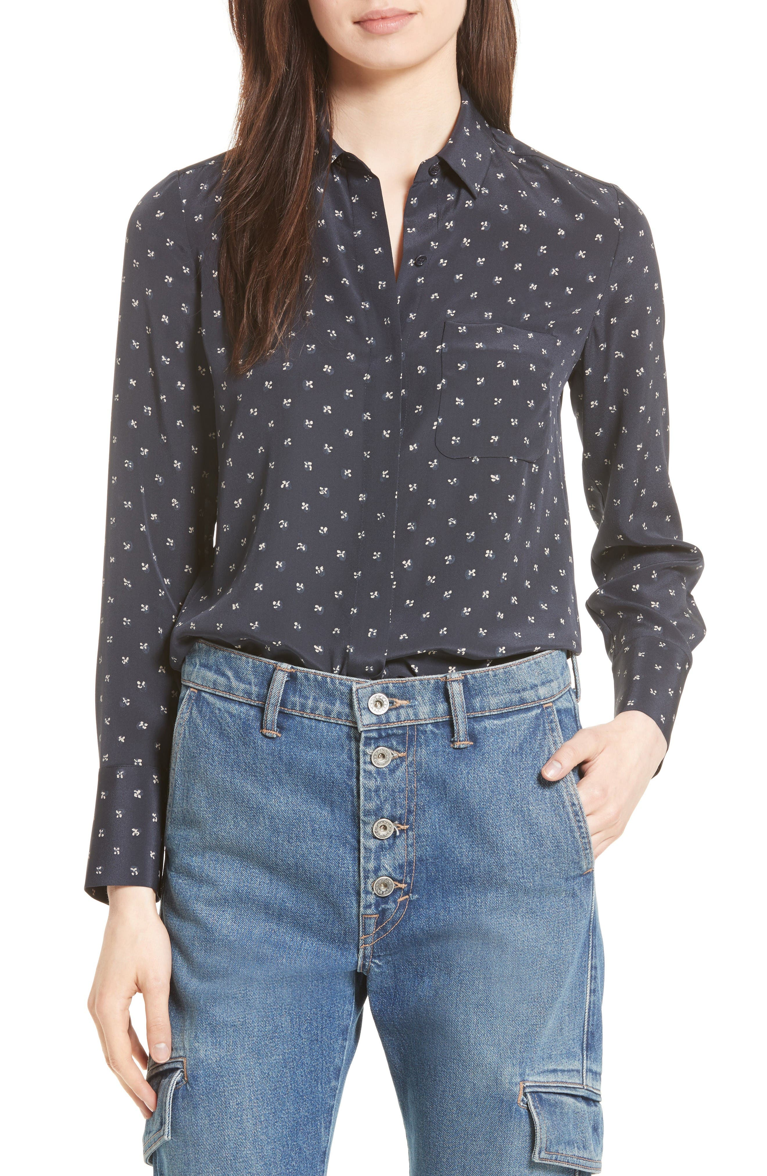 VINCE Refined Dot Slim Silk Shirt