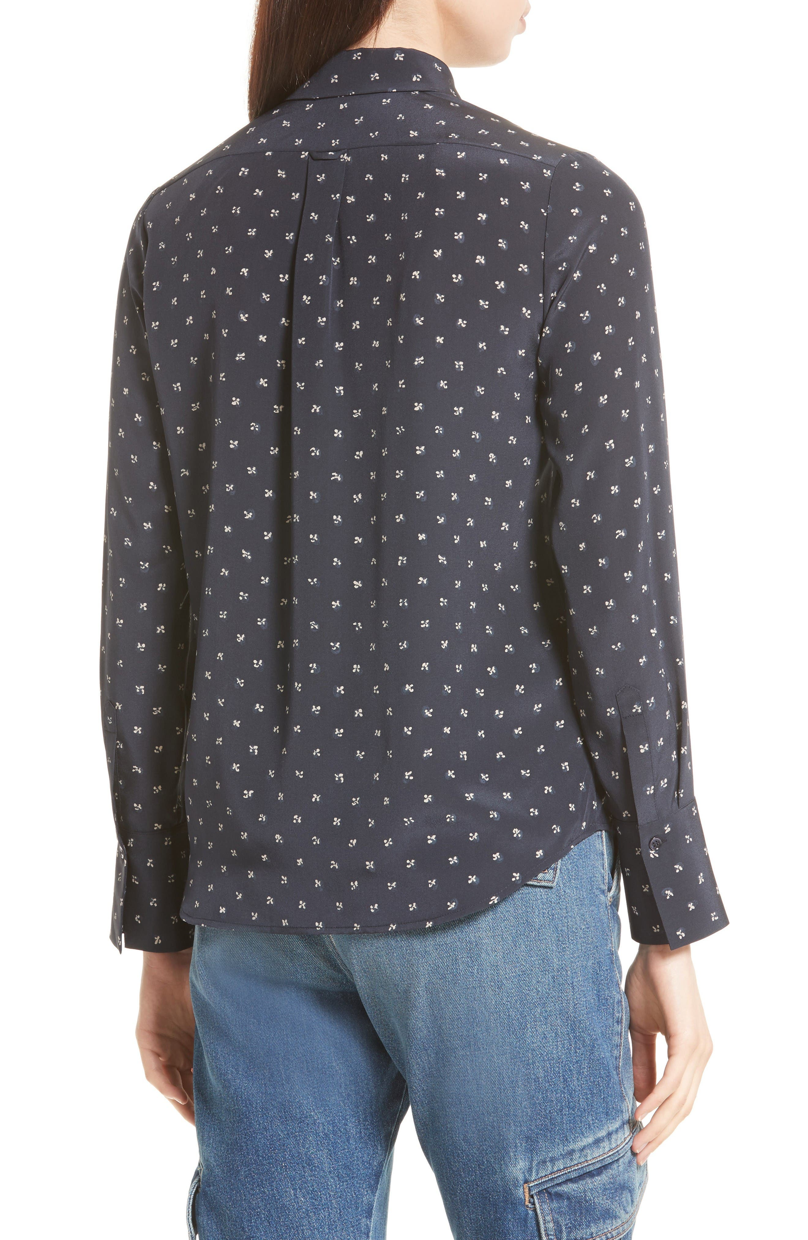 Refined Dot Slim Silk Shirt,                             Alternate thumbnail 2, color,                             Coastal Blue