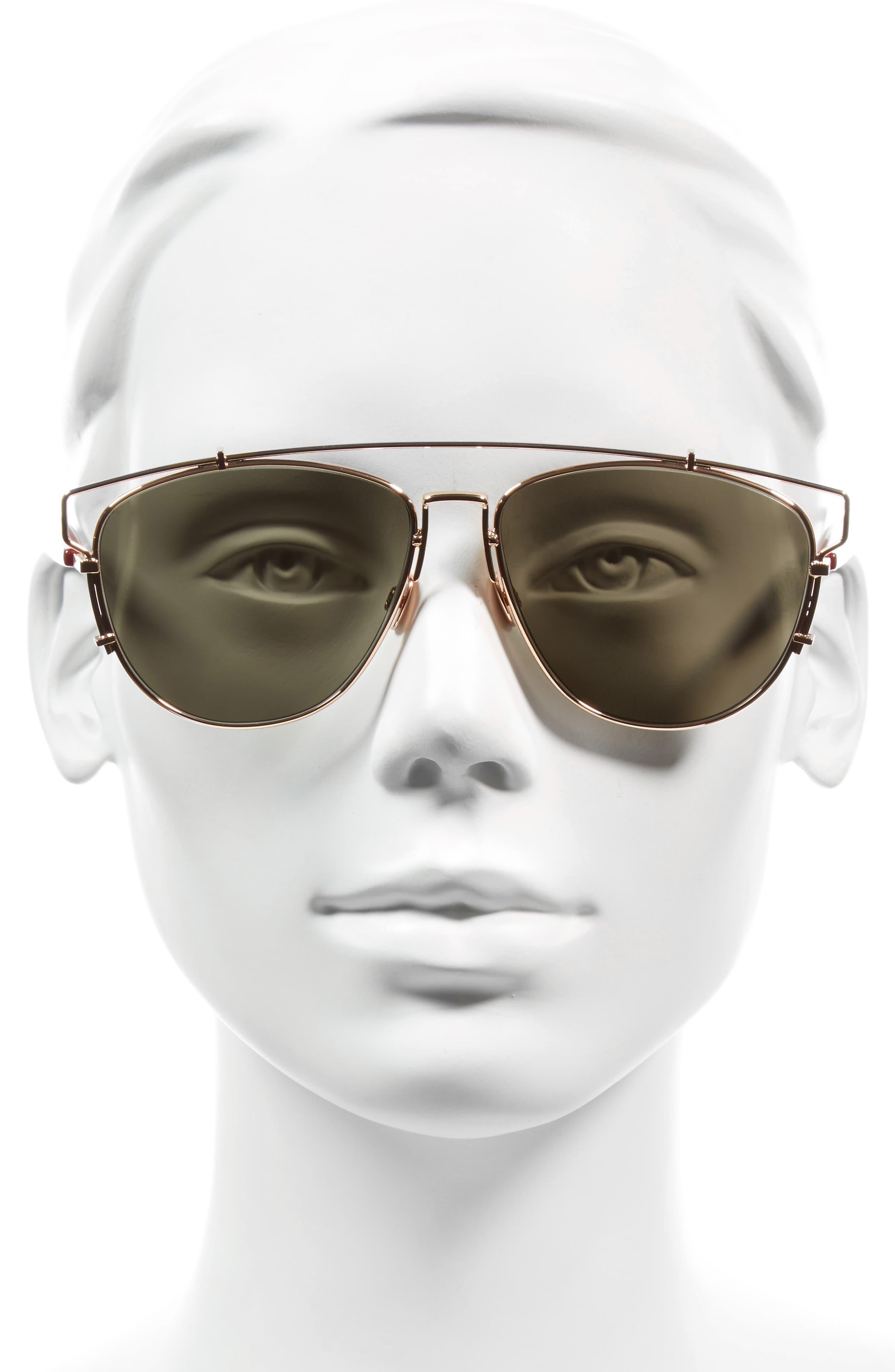 Technologic 57mm Brow Bar Sunglasses,                             Alternate thumbnail 2, color,                             Gold Copper/ Blue