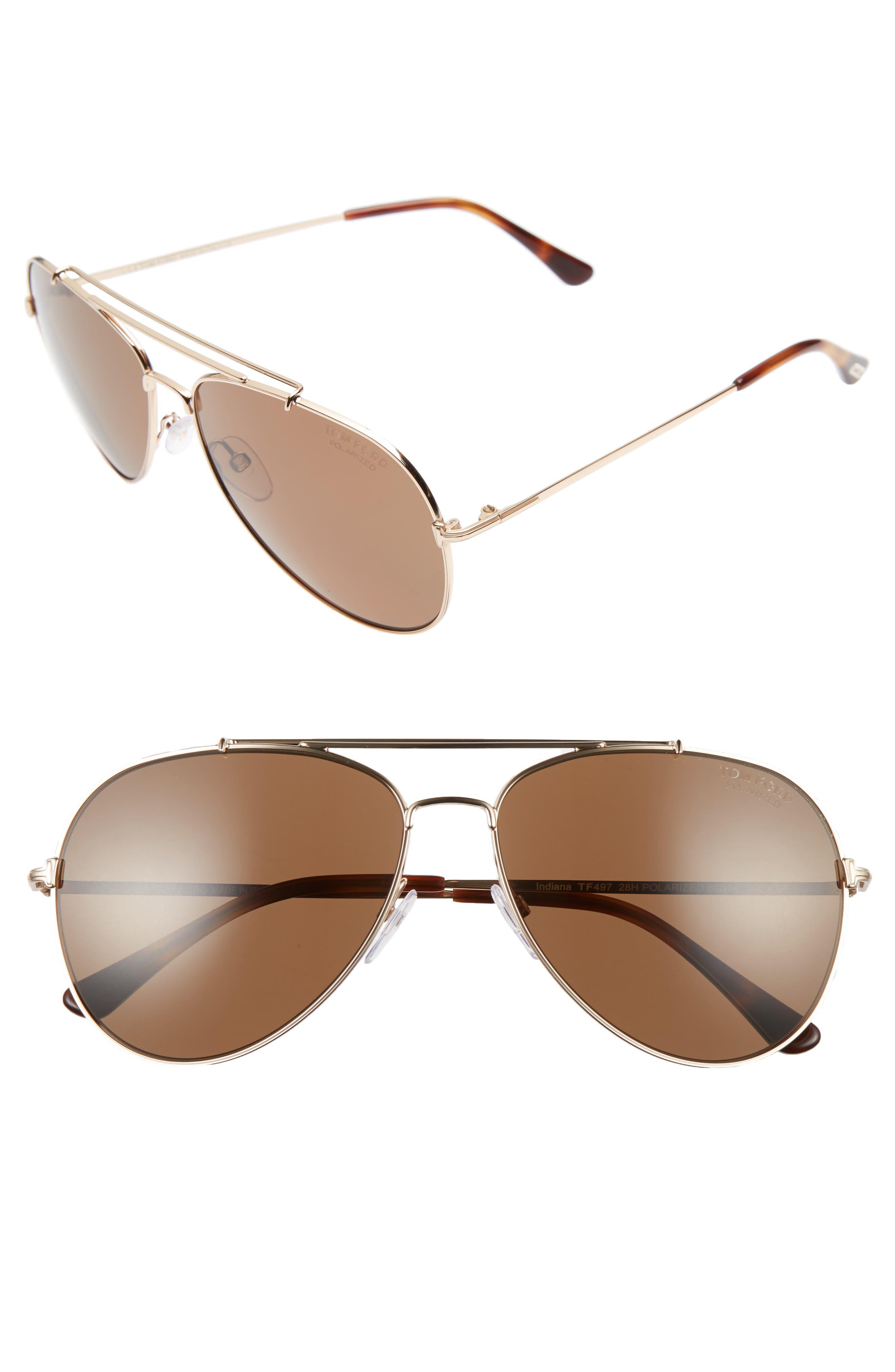 Indiana 58mm Polarized Aviator Sunglasses,                             Main thumbnail 1, color,                             Rose Gold/ Blonde/ Brown Polar
