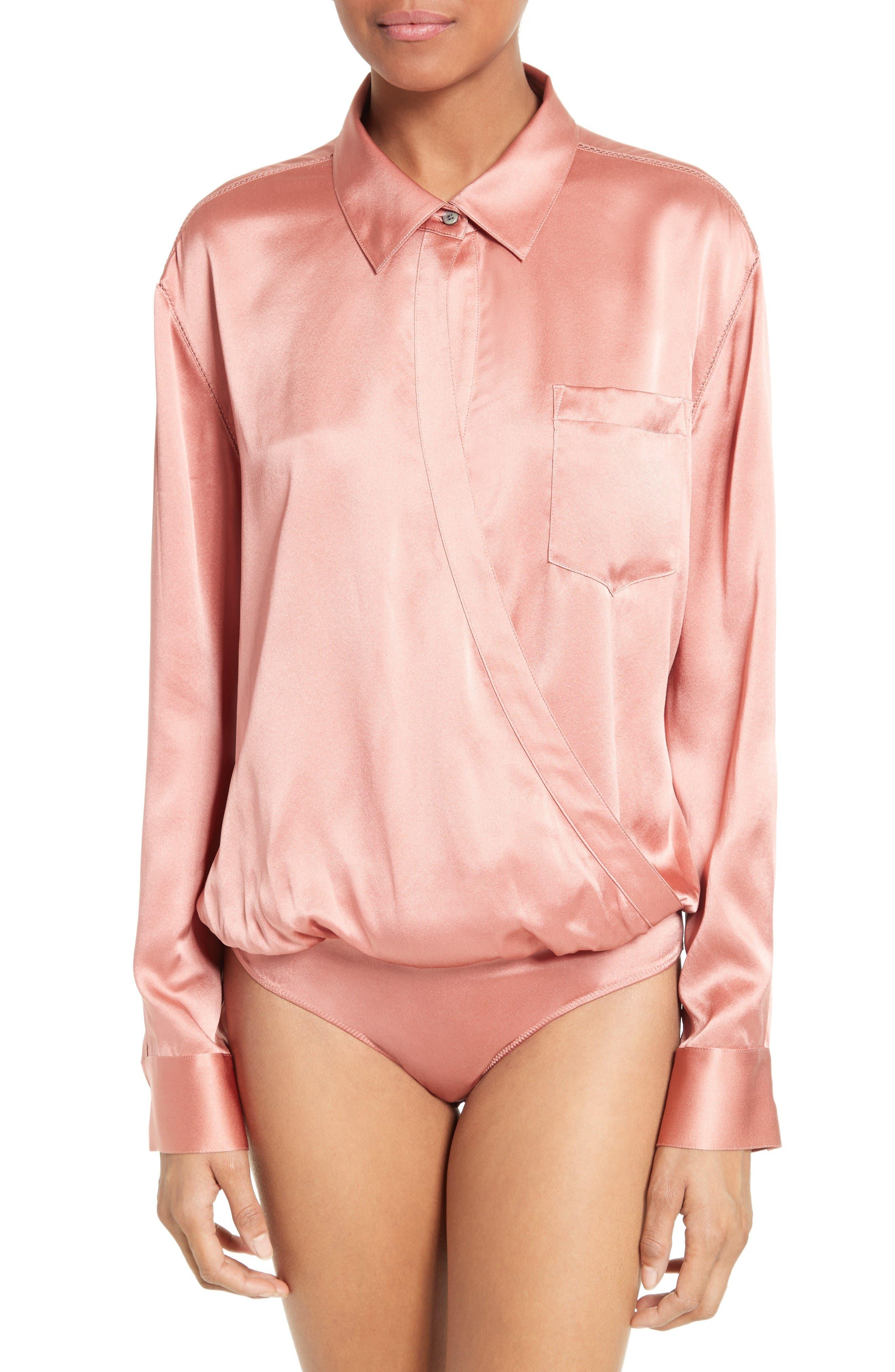 Alternate Image 4  - T by Alexander Wang Silk Wrap Shirt Bodysuit