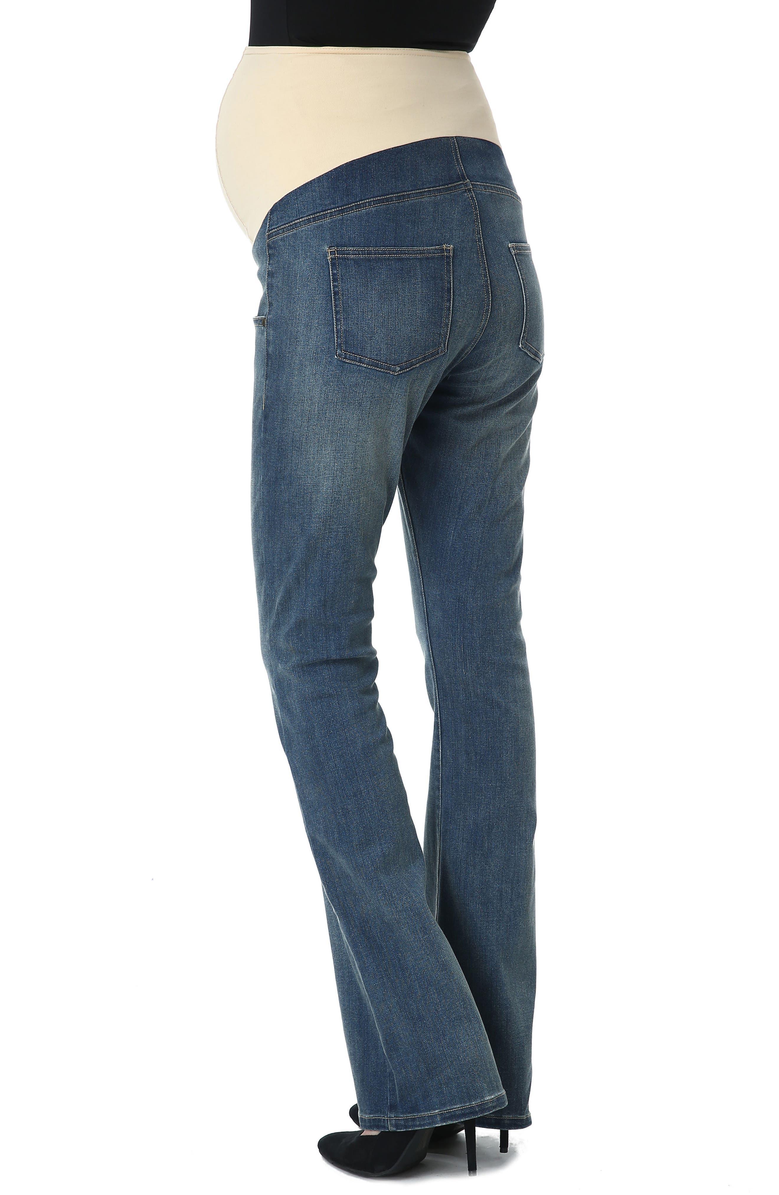 Dixie Maternity Flare Jeans,                             Alternate thumbnail 2, color,                             Medium Indigo