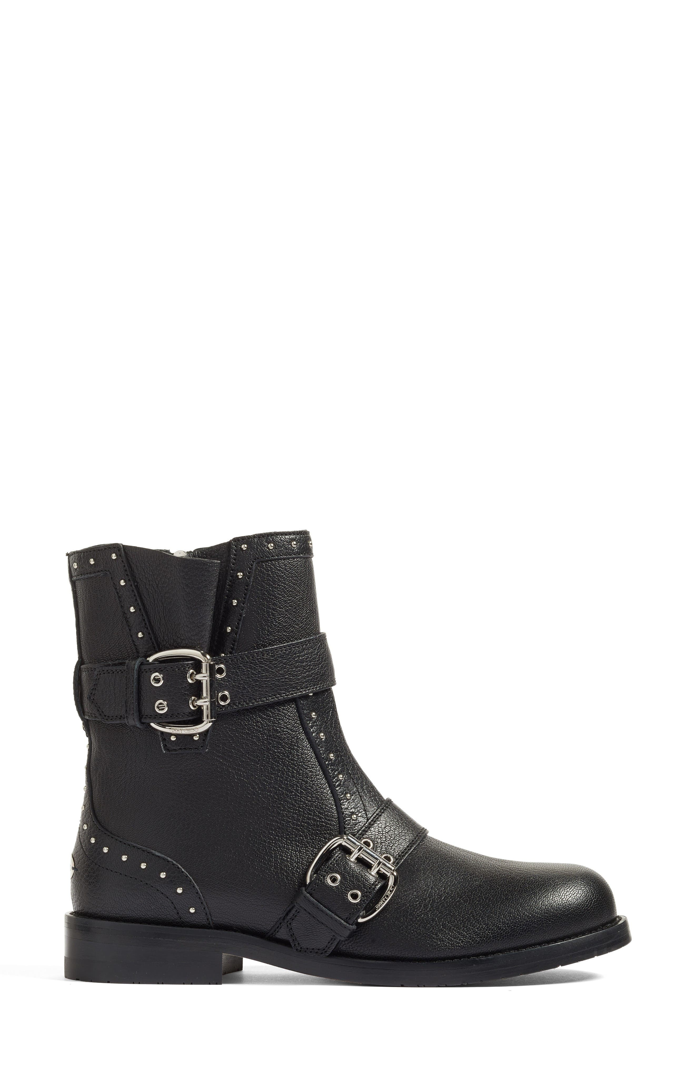 Blyss Combat Boot,                             Alternate thumbnail 3, color,                             Black Leather