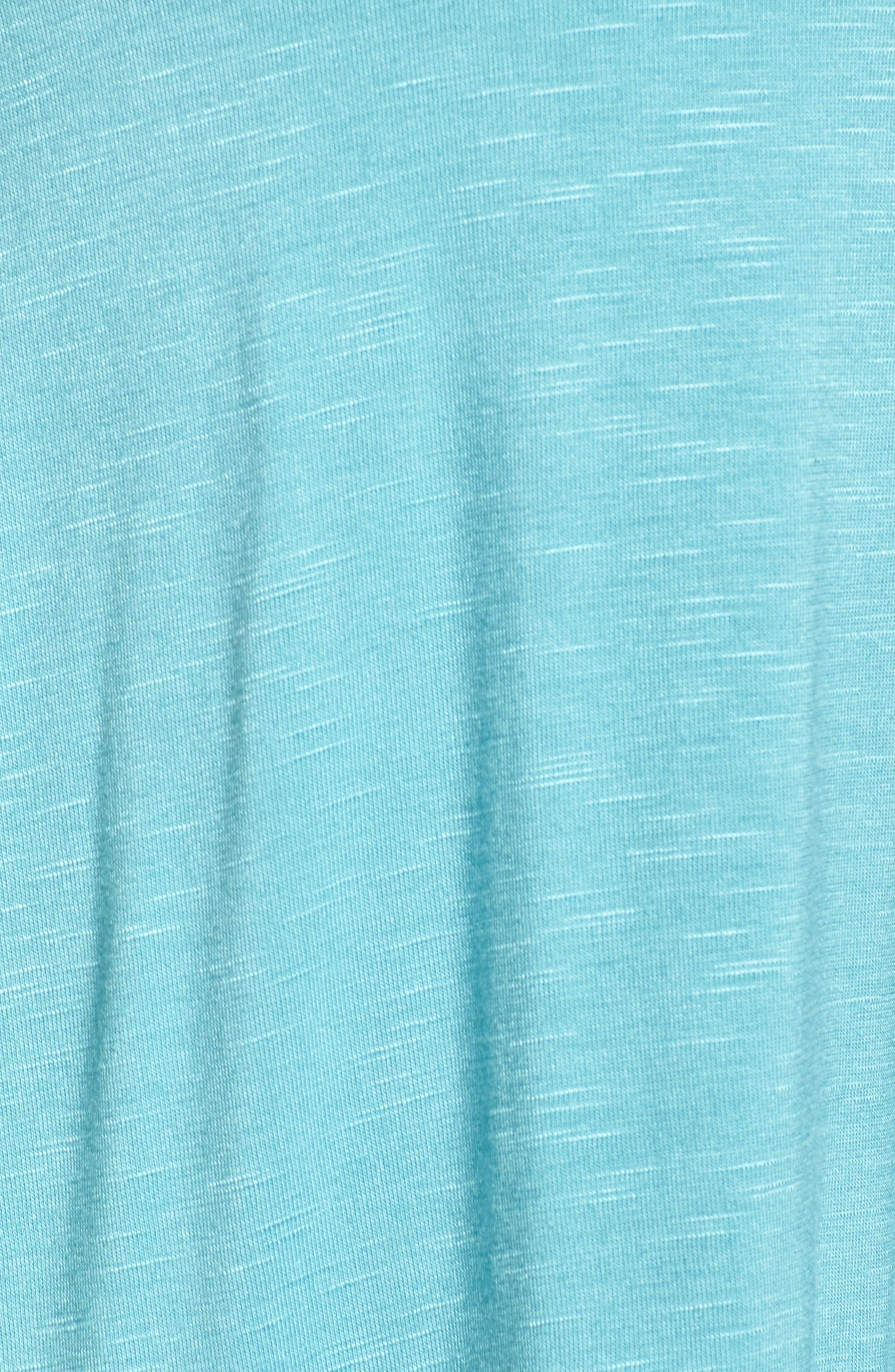 Ruffle Trim Tie Neck Top,                             Alternate thumbnail 5, color,                             Blue/ Green