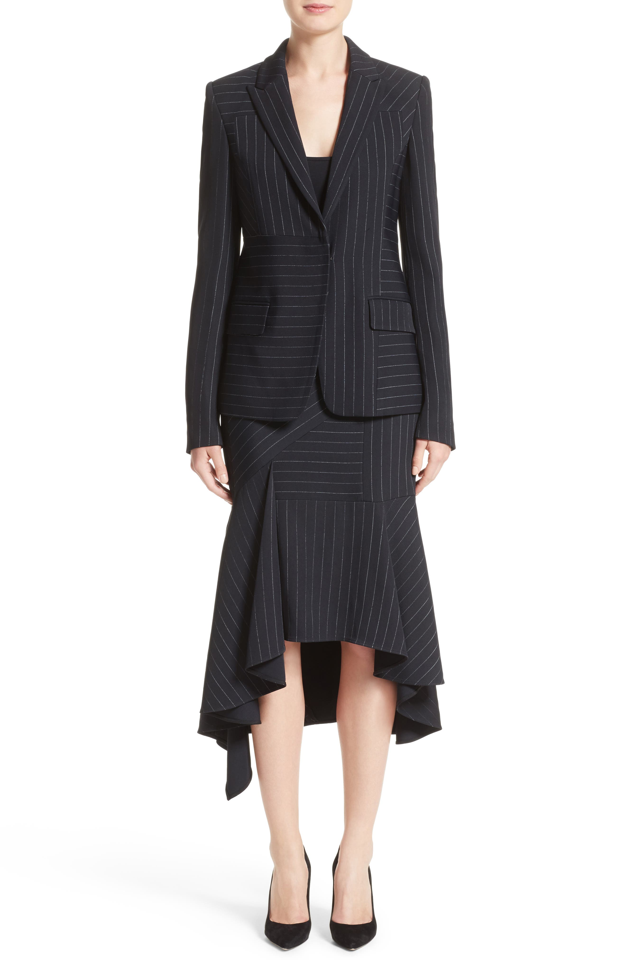 Pinstripe Stretch Asymmetrical Skirt,                             Alternate thumbnail 8, color,                             Black/ Chalk