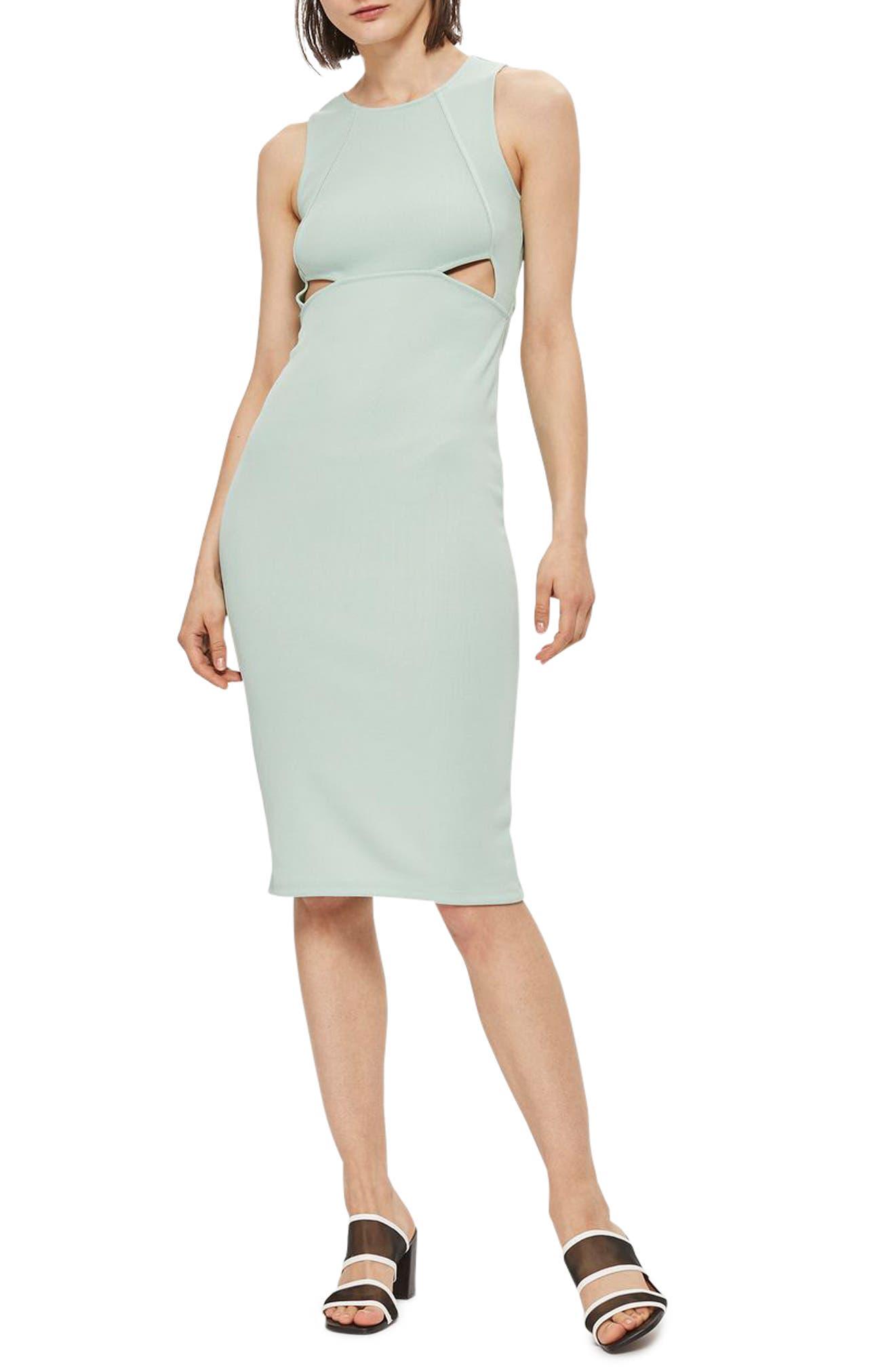 Main Image - Topshop Cutout Ribbed Body-Con Dress
