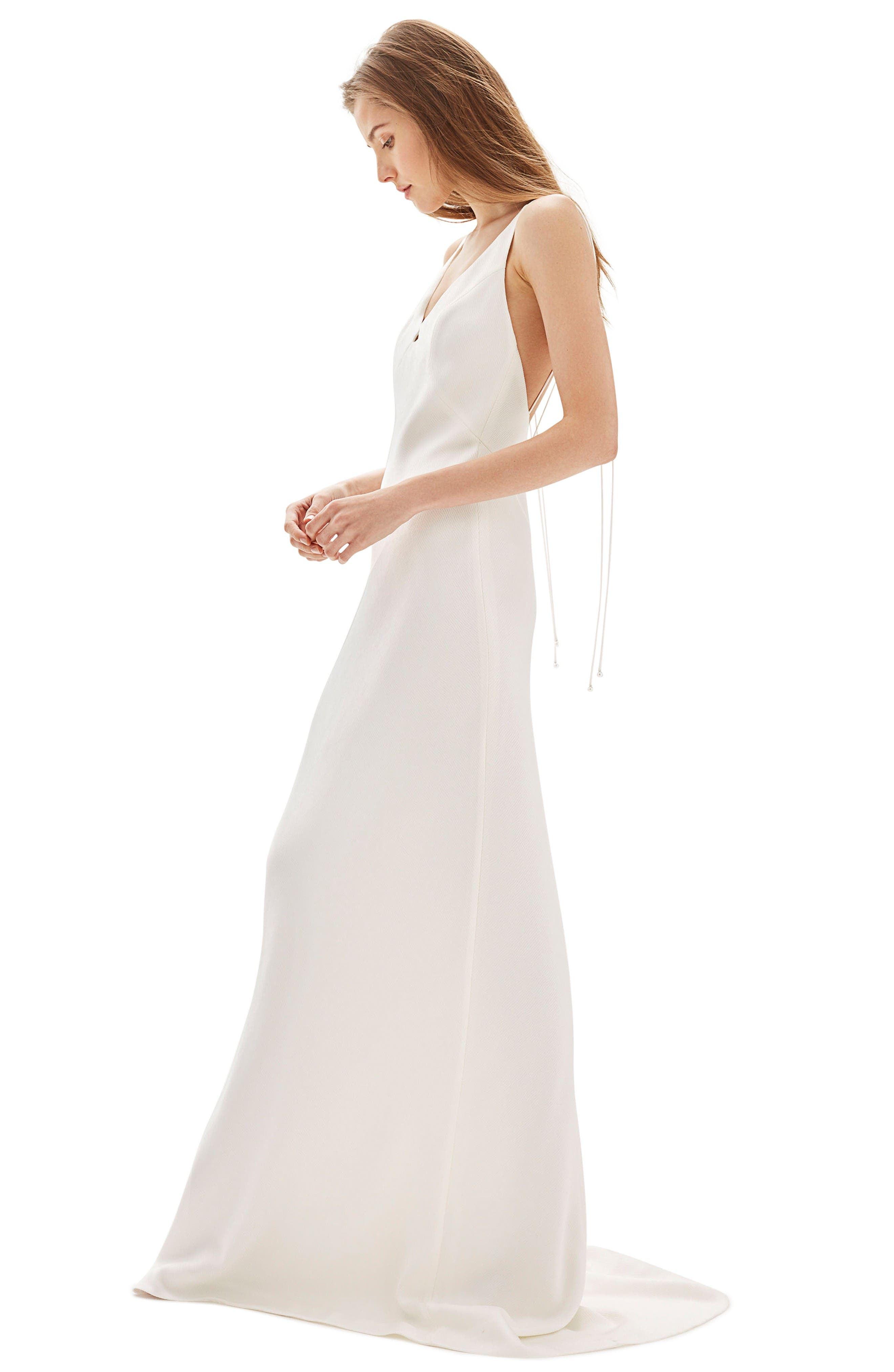 Bride V-Neck Satin Sheath Gown,                             Alternate thumbnail 4, color,                             Ivory