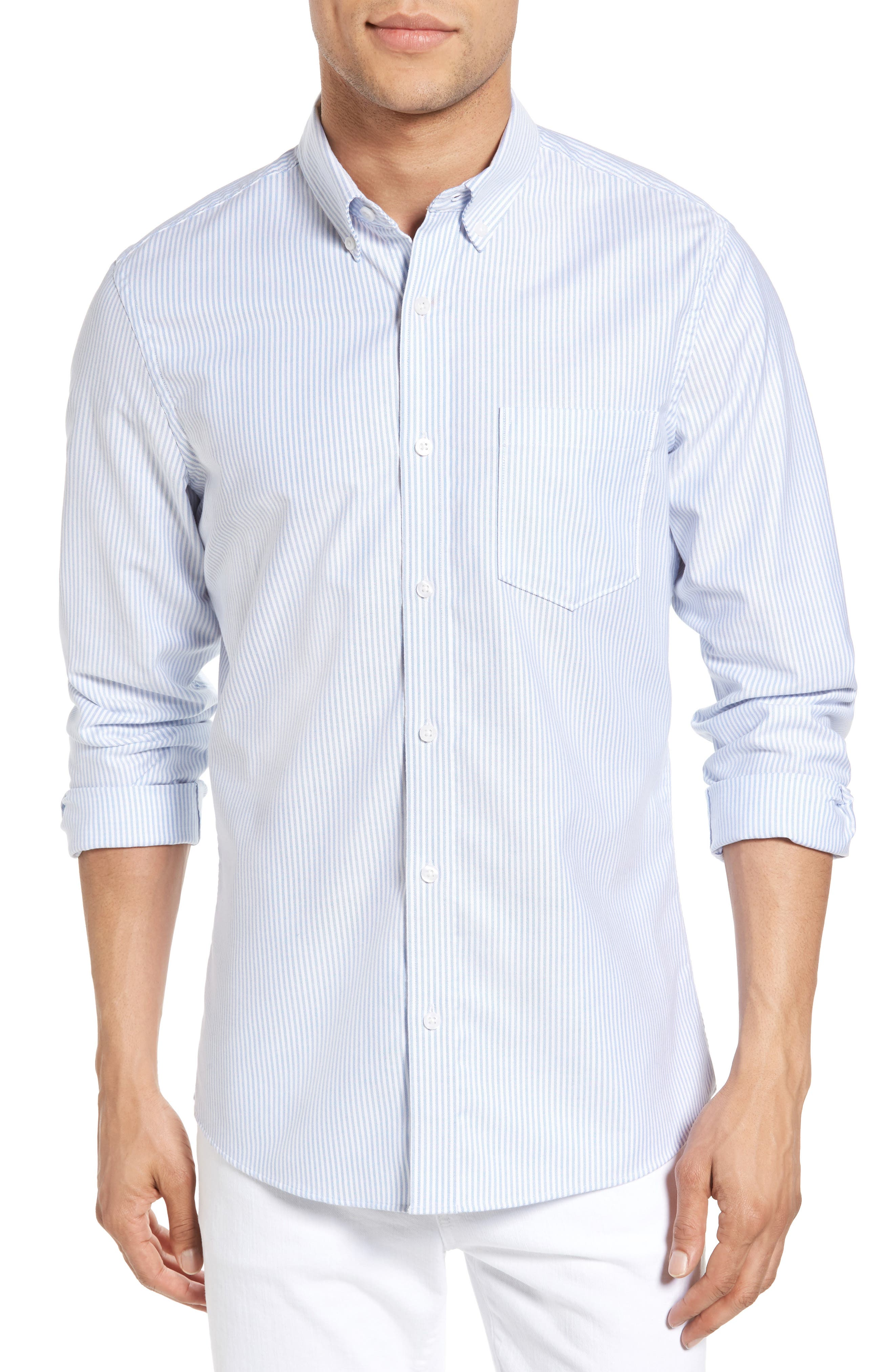Alternate Image 1 Selected - 1901 Trim Fit Bengal Stripe Sport Shirt