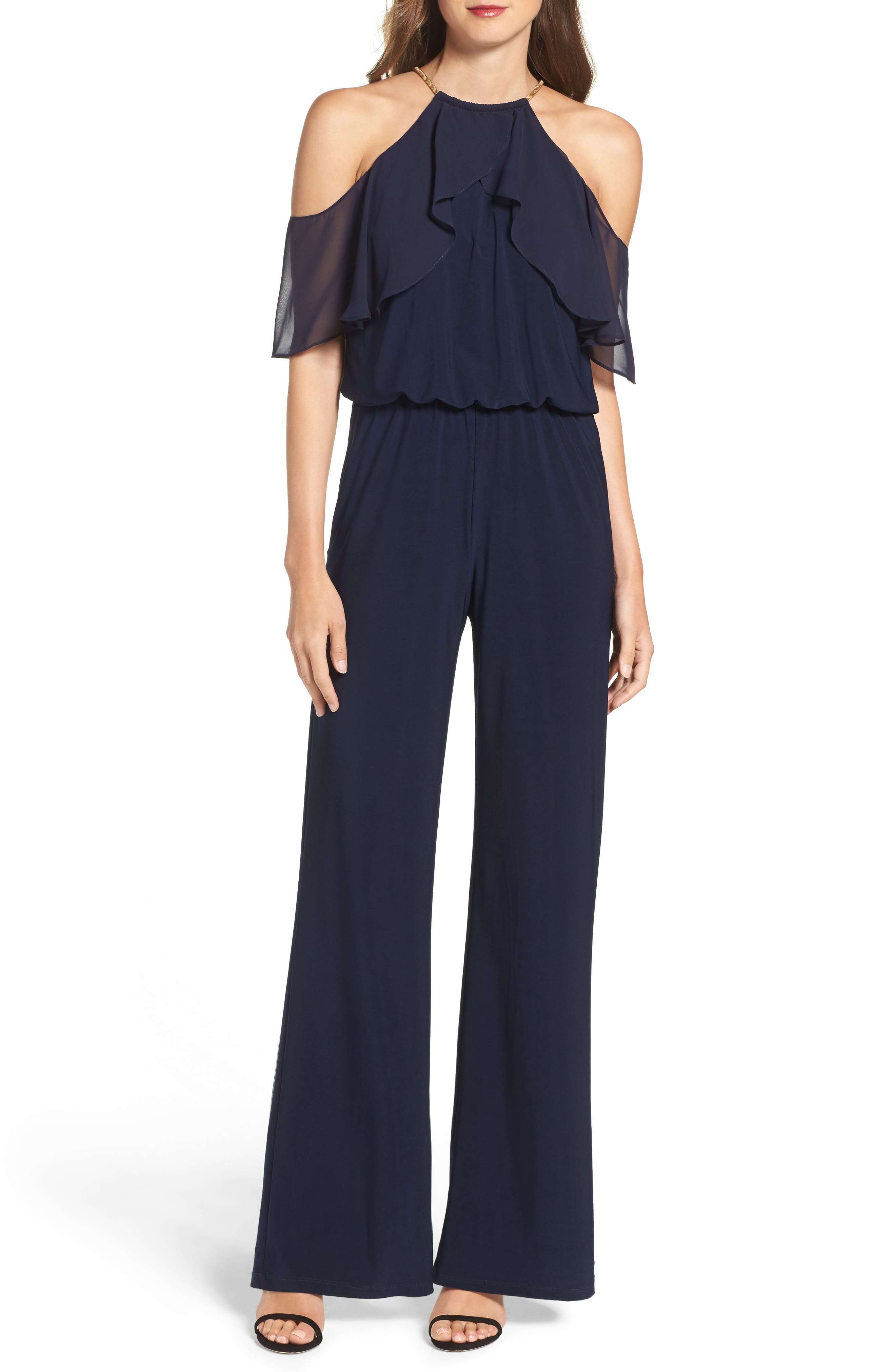 Cold Shoulder Jumpsuit,                             Main thumbnail 1, color,                             Navy