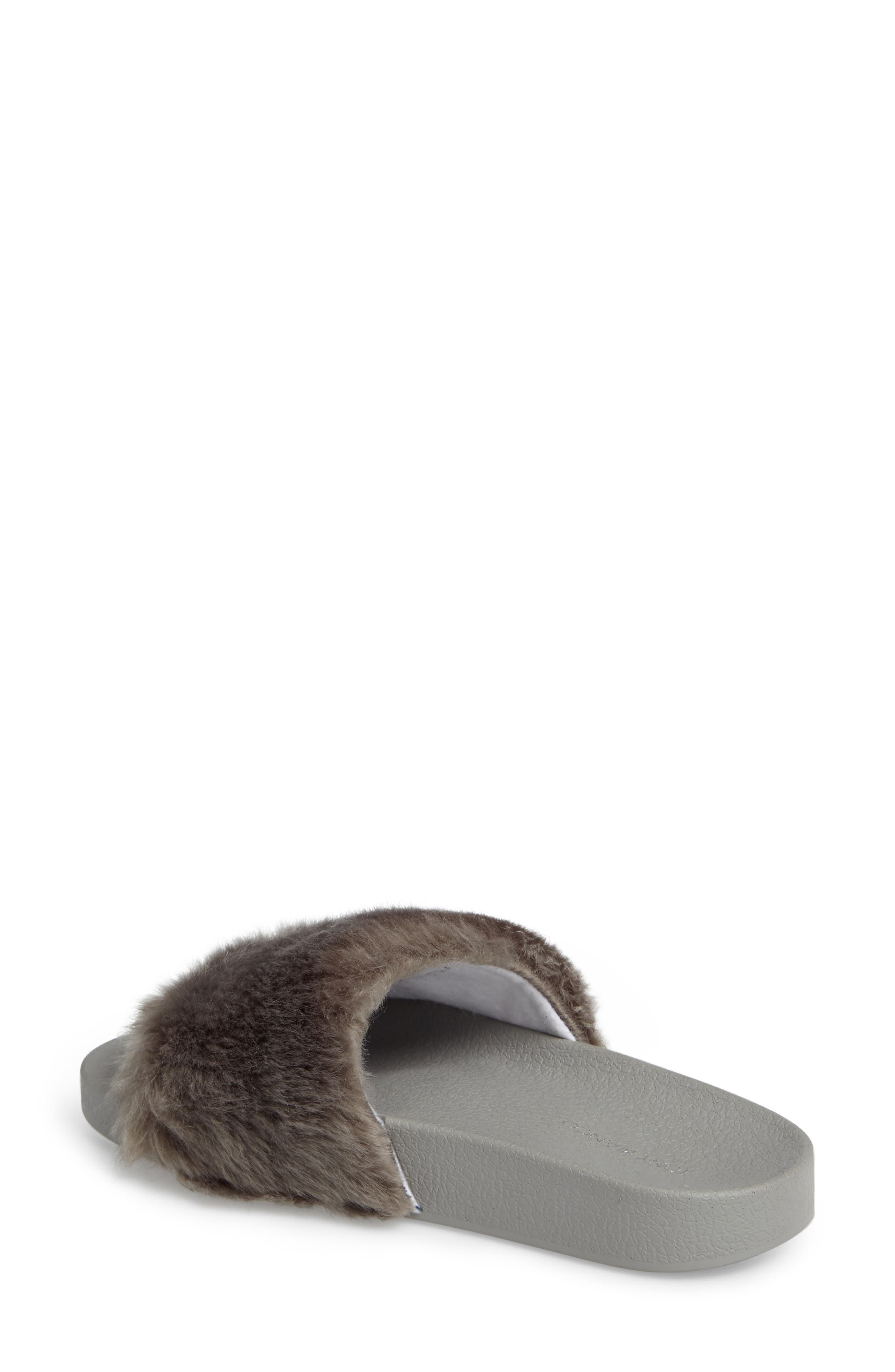 Vixen Slide Sandal,                             Alternate thumbnail 2, color,                             Grey Faux Fur