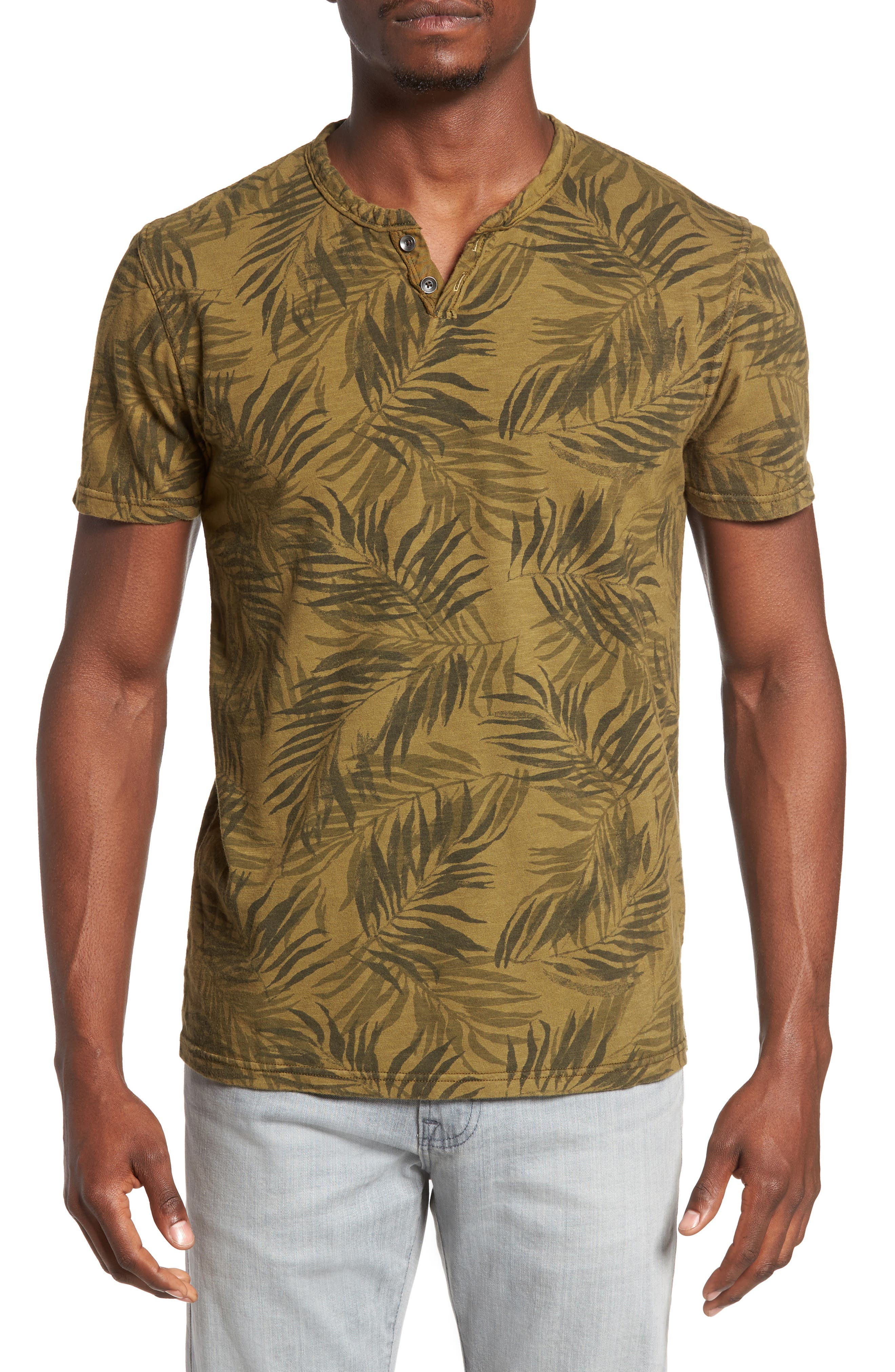 Alternate Image 1 Selected - Lucky Brand Palm Print Notch T-Shirt