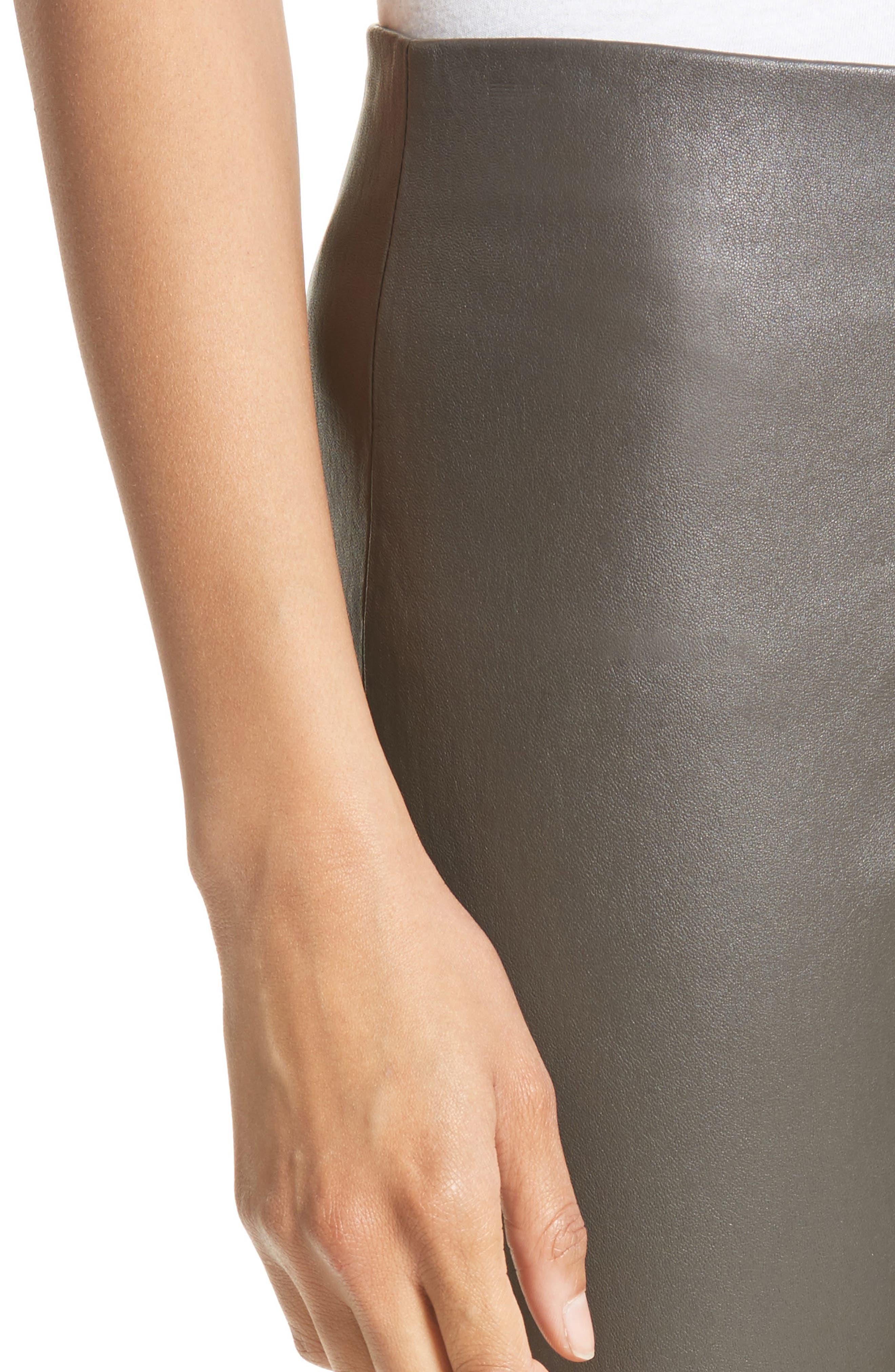 Slit Hem Crop Leather Pants,                             Alternate thumbnail 4, color,                             Graphite
