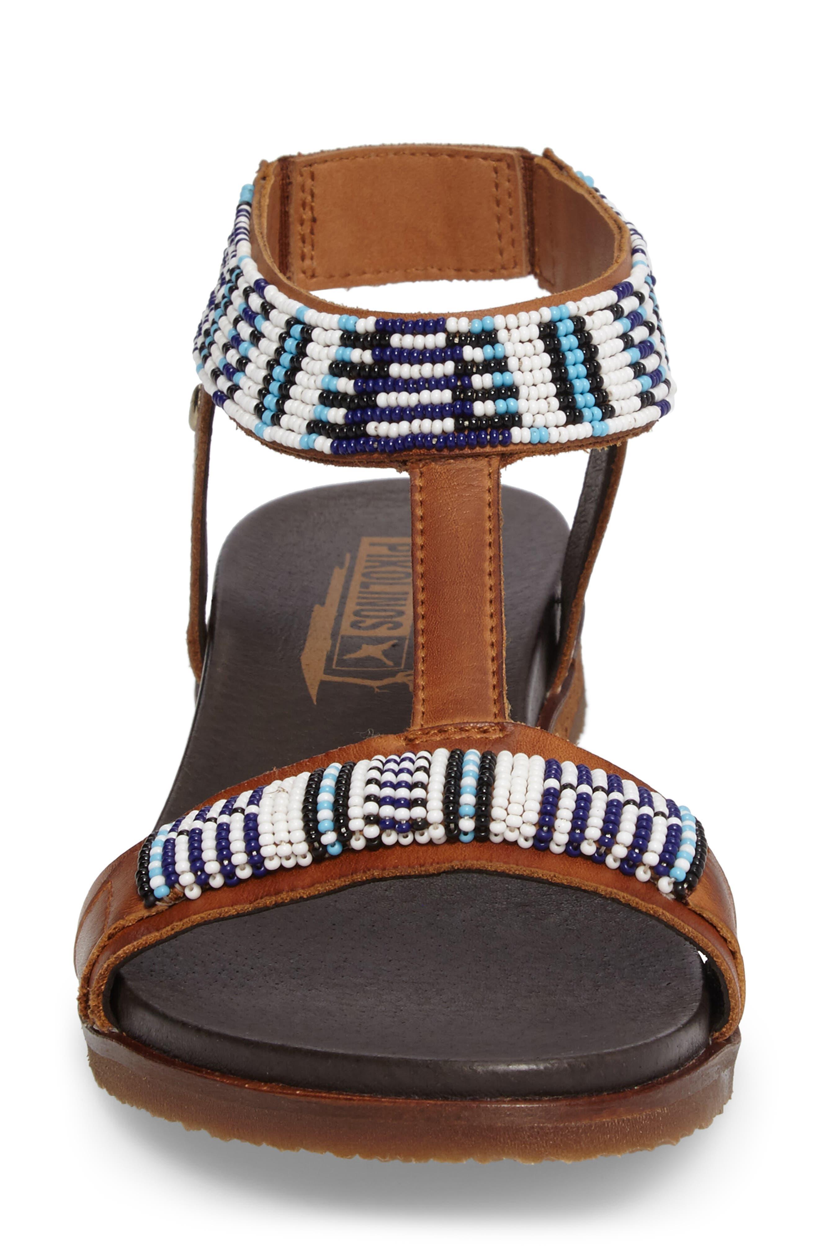 Antillas Beaded Sandal,                             Alternate thumbnail 4, color,                             Brandy Leather