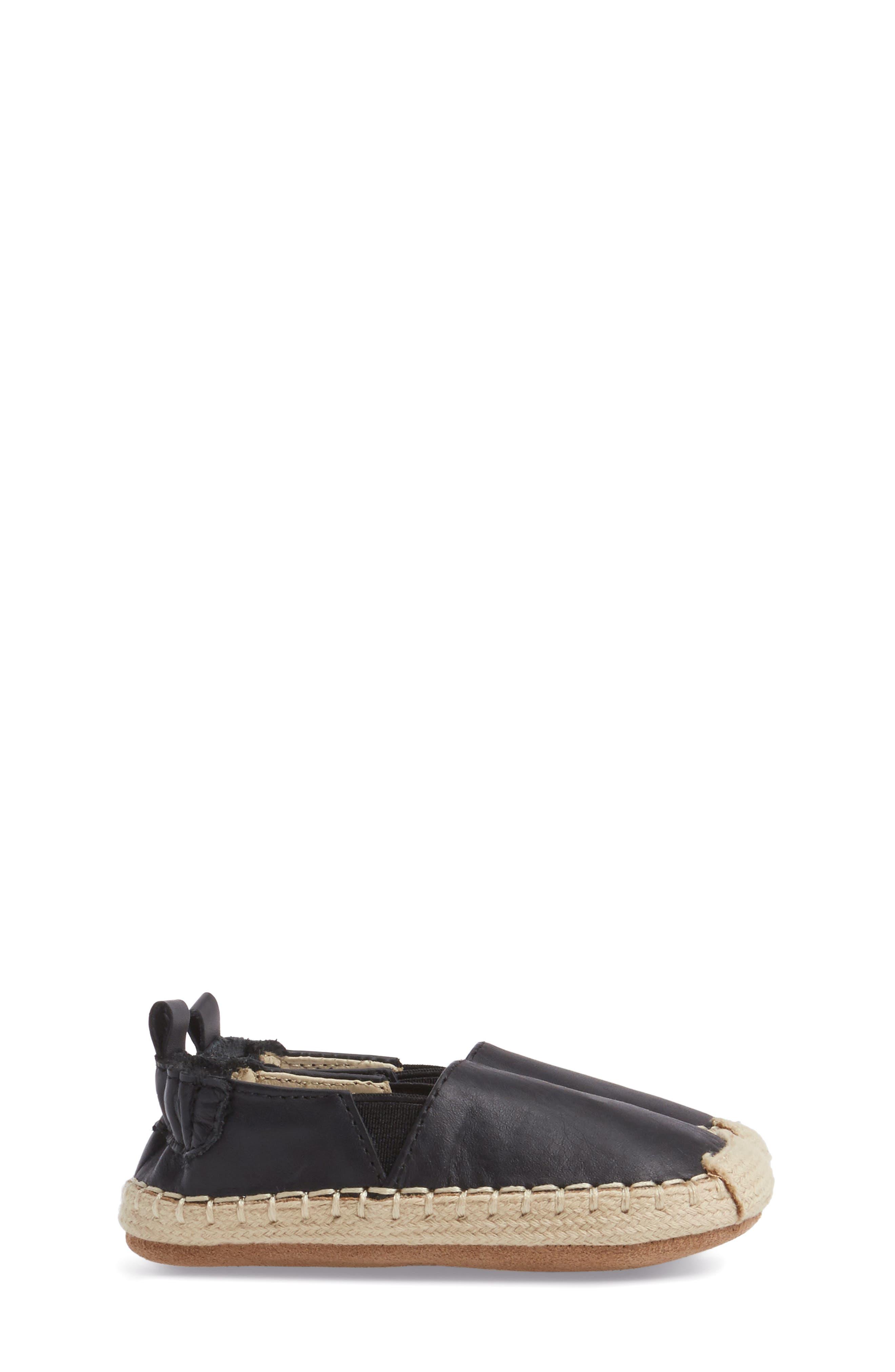 Ellie Crib Shoe,                             Alternate thumbnail 3, color,                             Black Leather