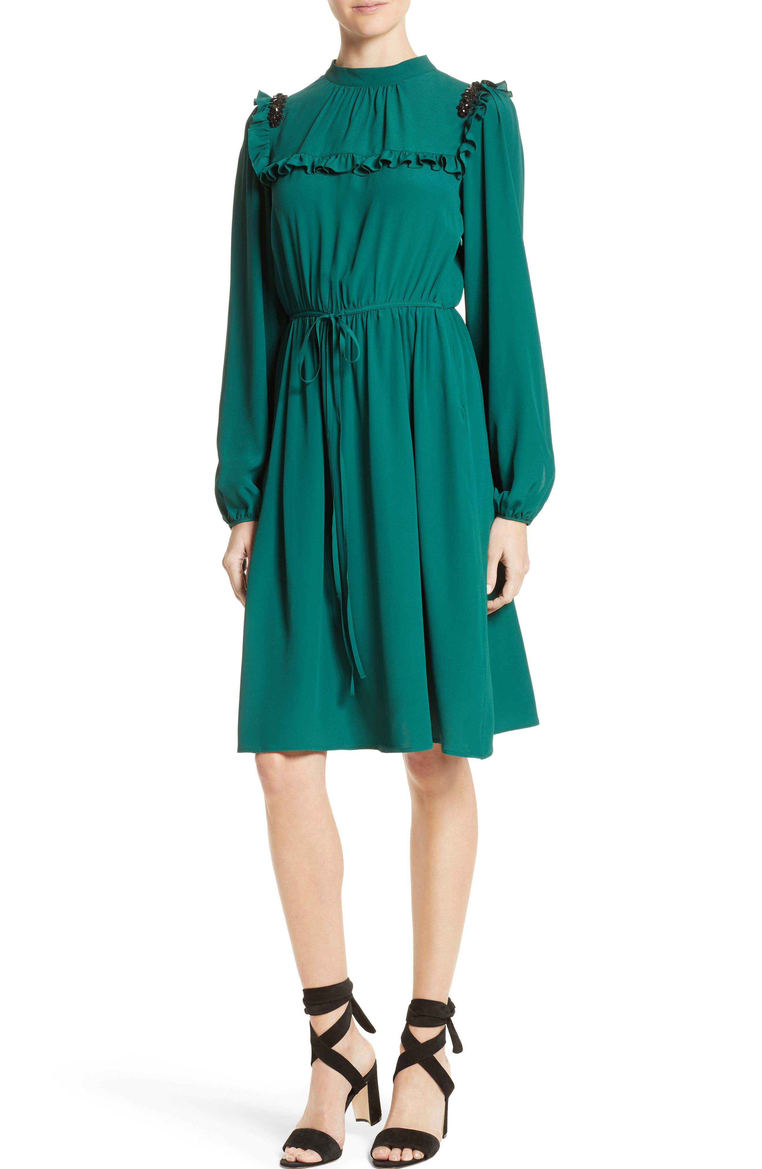 Crystal Embellished Ruffle Dress,                             Main thumbnail 1, color,                             Verde