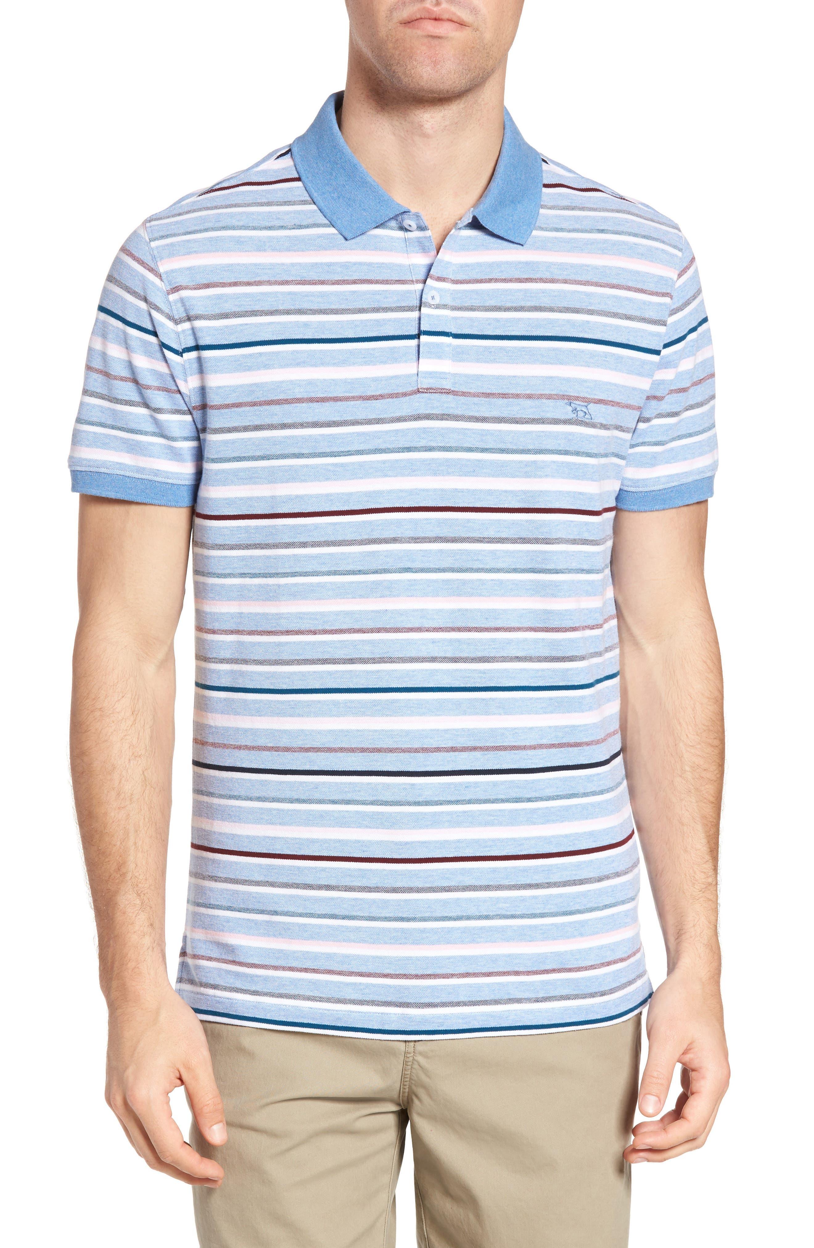 Gowan Hill Sports Fit Cotton Polo,                             Main thumbnail 1, color,                             Stonewash