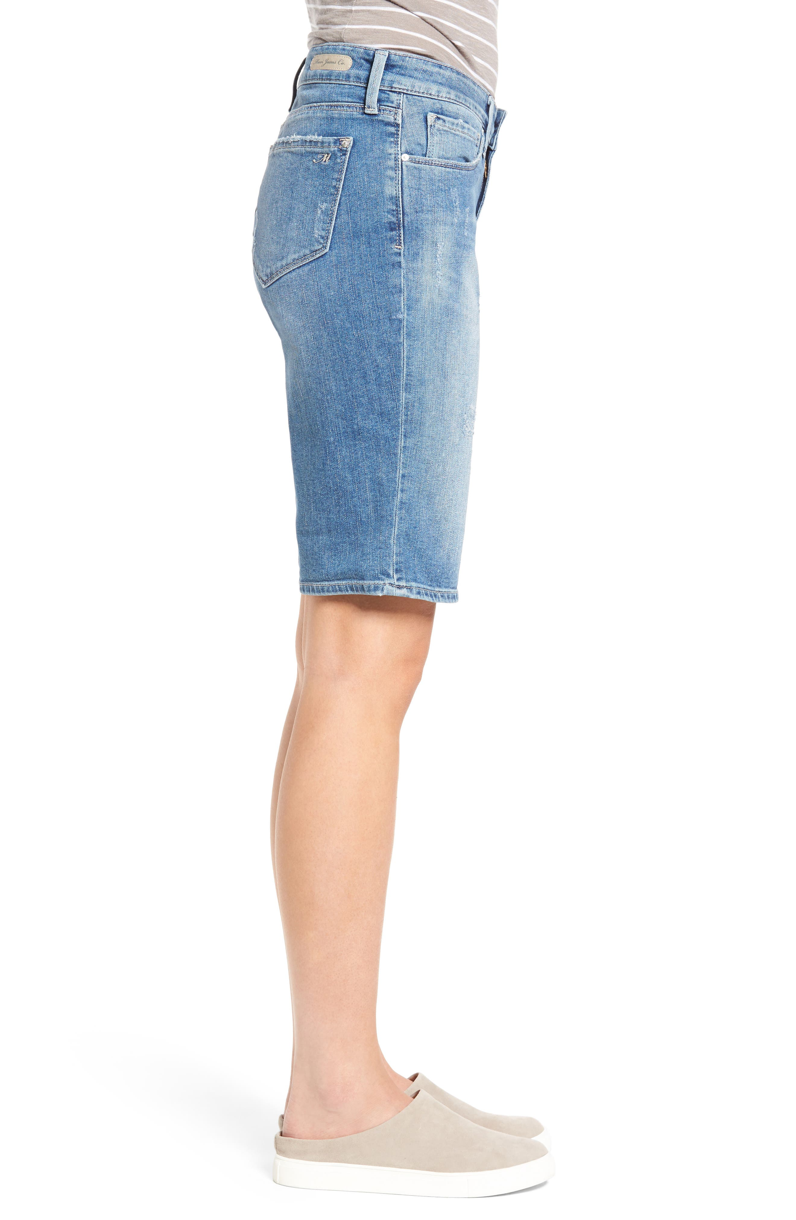 Alexis Ripped Denim Shorts,                             Alternate thumbnail 3, color,                             Mid Ripped