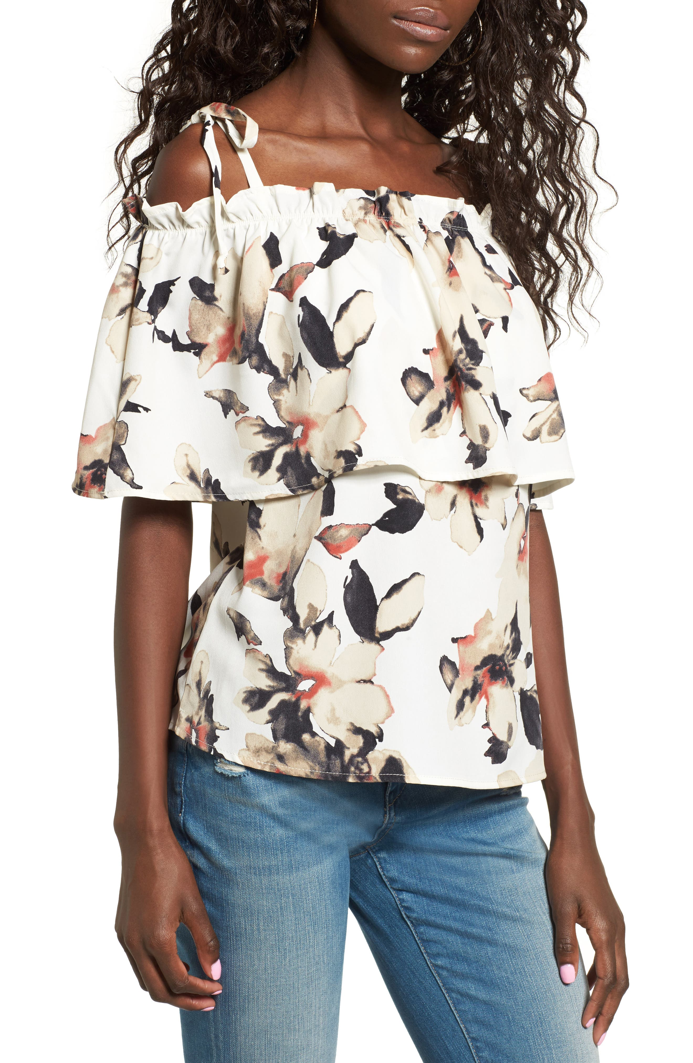Main Image - Leith Off the Shoulder Floral Top