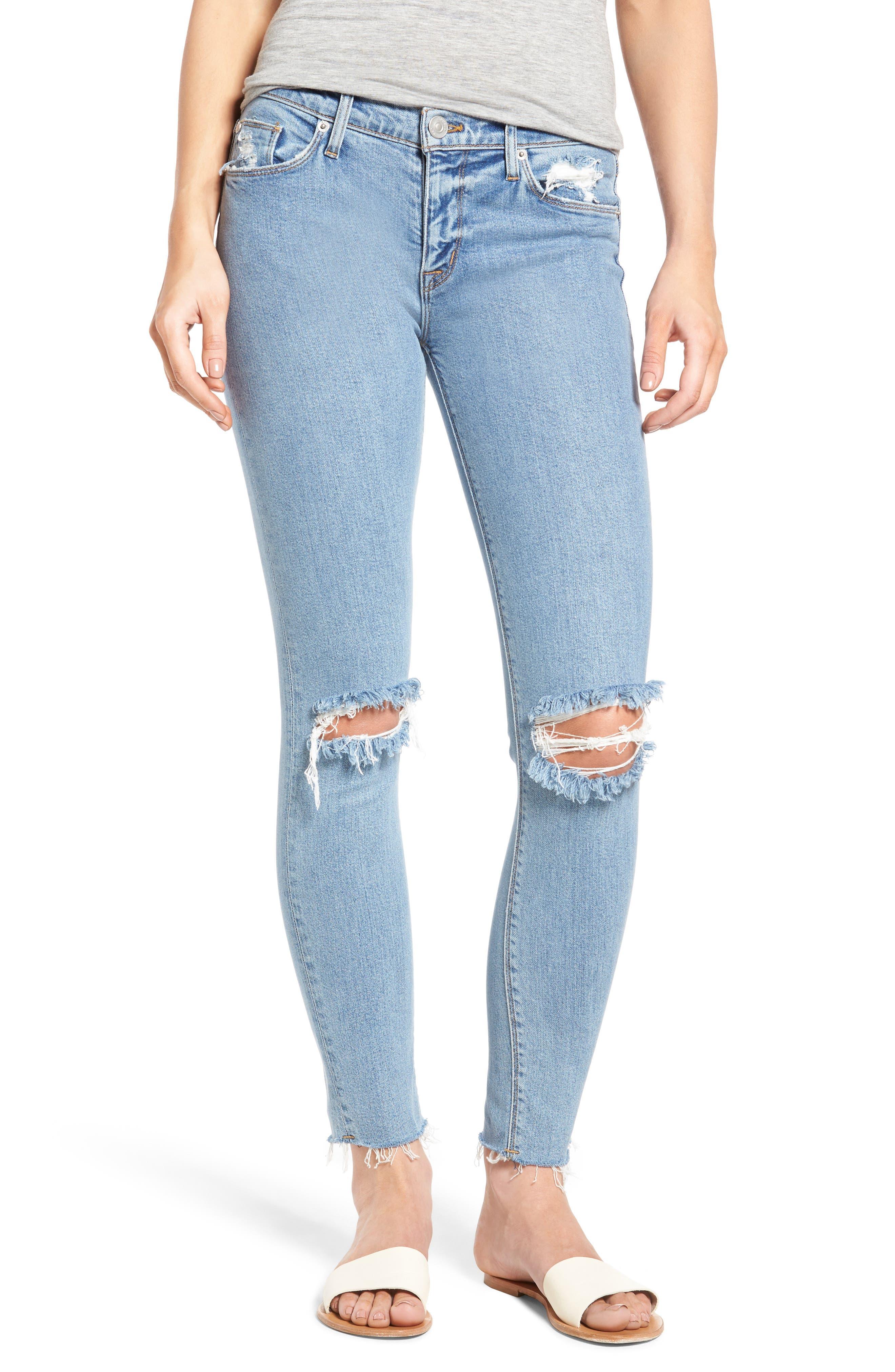 Nico Raw Hem Ankle Super Skinny Jeans,                             Main thumbnail 1, color,                             Hooligan