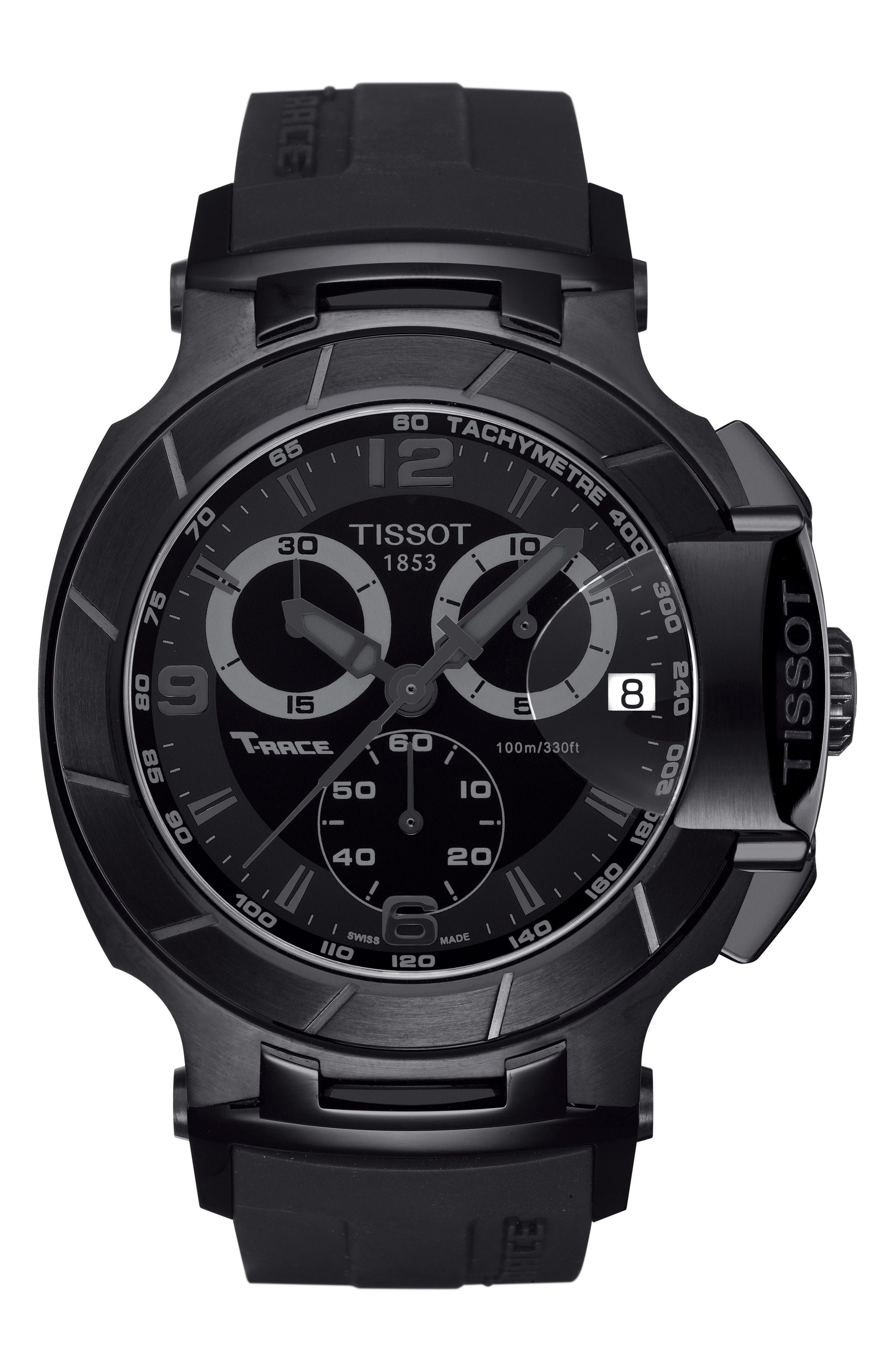 T-Race Chronograph Silicone Strap Watch, 50mm,                         Main,                         color, Black/ Silver