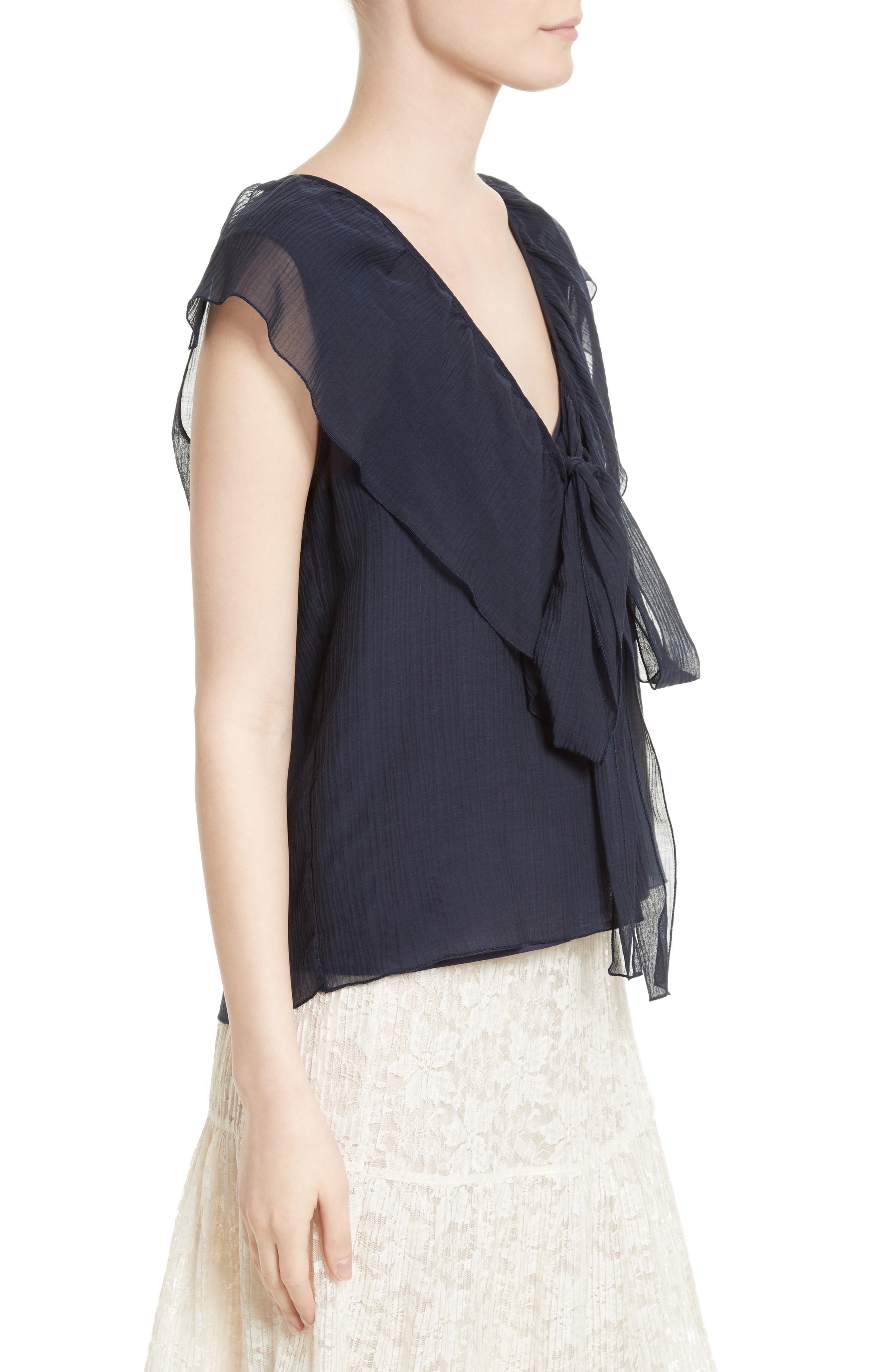 Alternate Image 4  - See by Chloé Cotton & Silk Ruffle Top