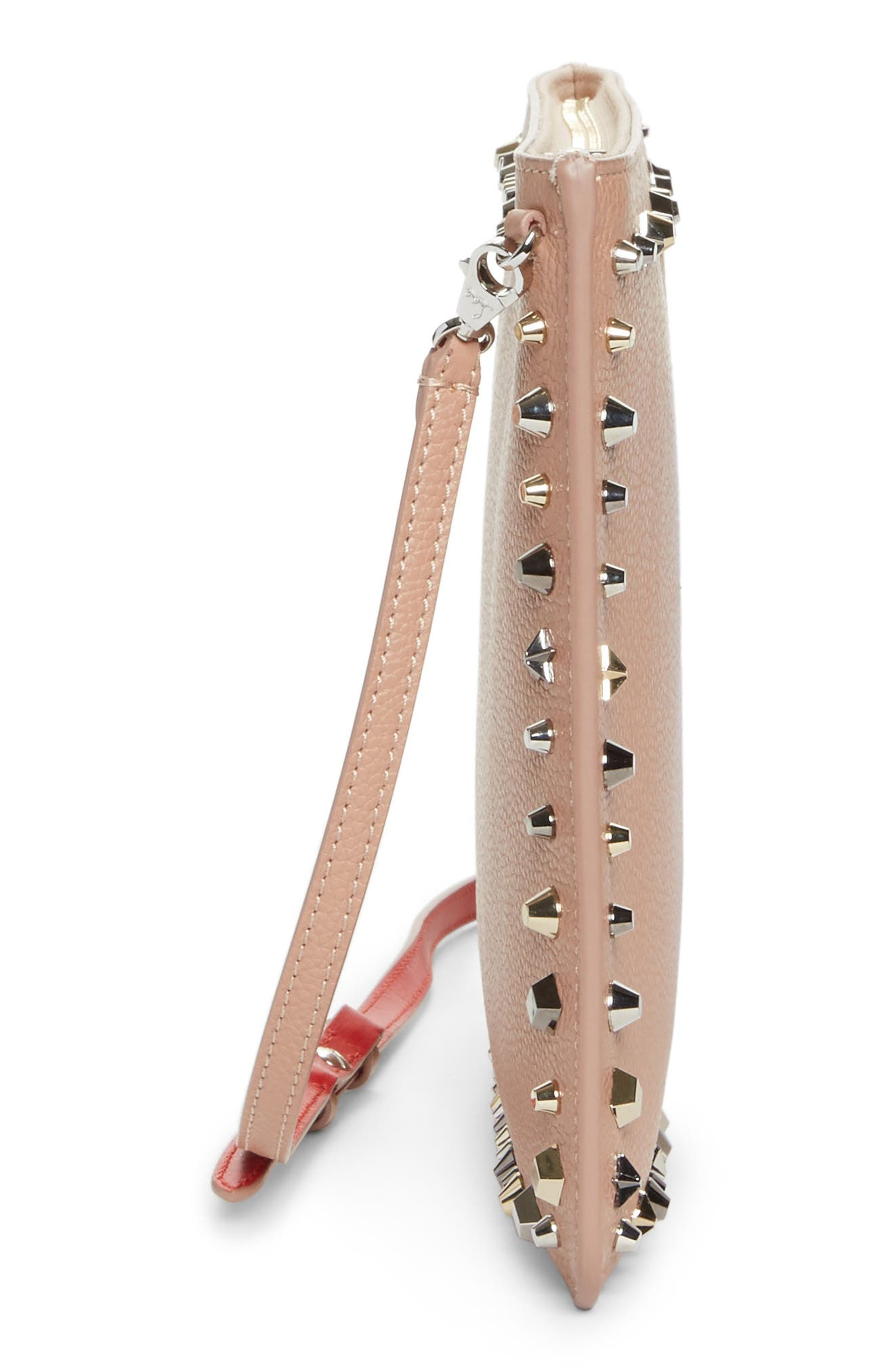 Loubiclutch Spiked Leather Clutch,                             Alternate thumbnail 5, color,                             Nude/ Multimetal