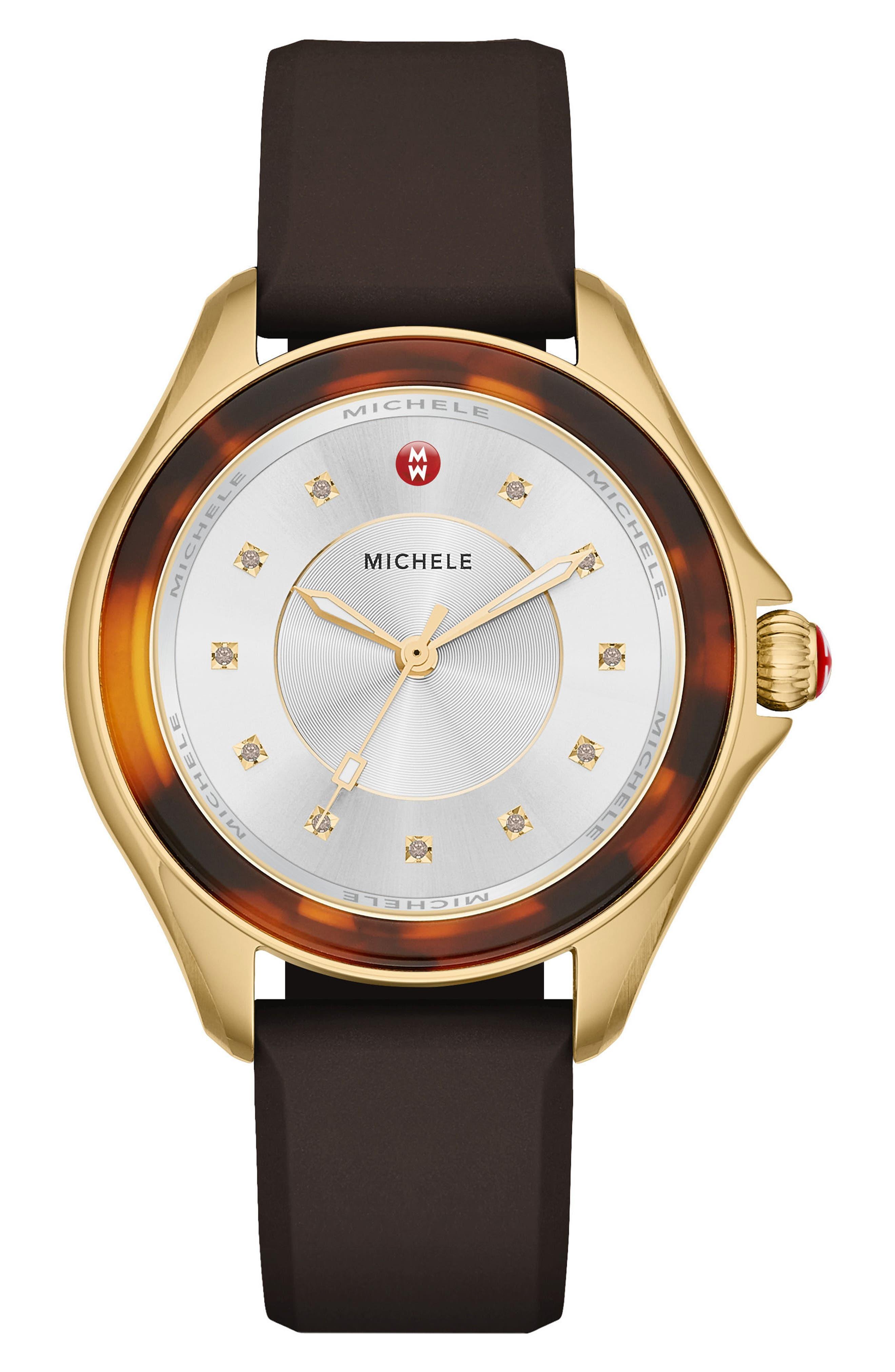 MICHELE Cape Silicone Strap Watch, 40mm