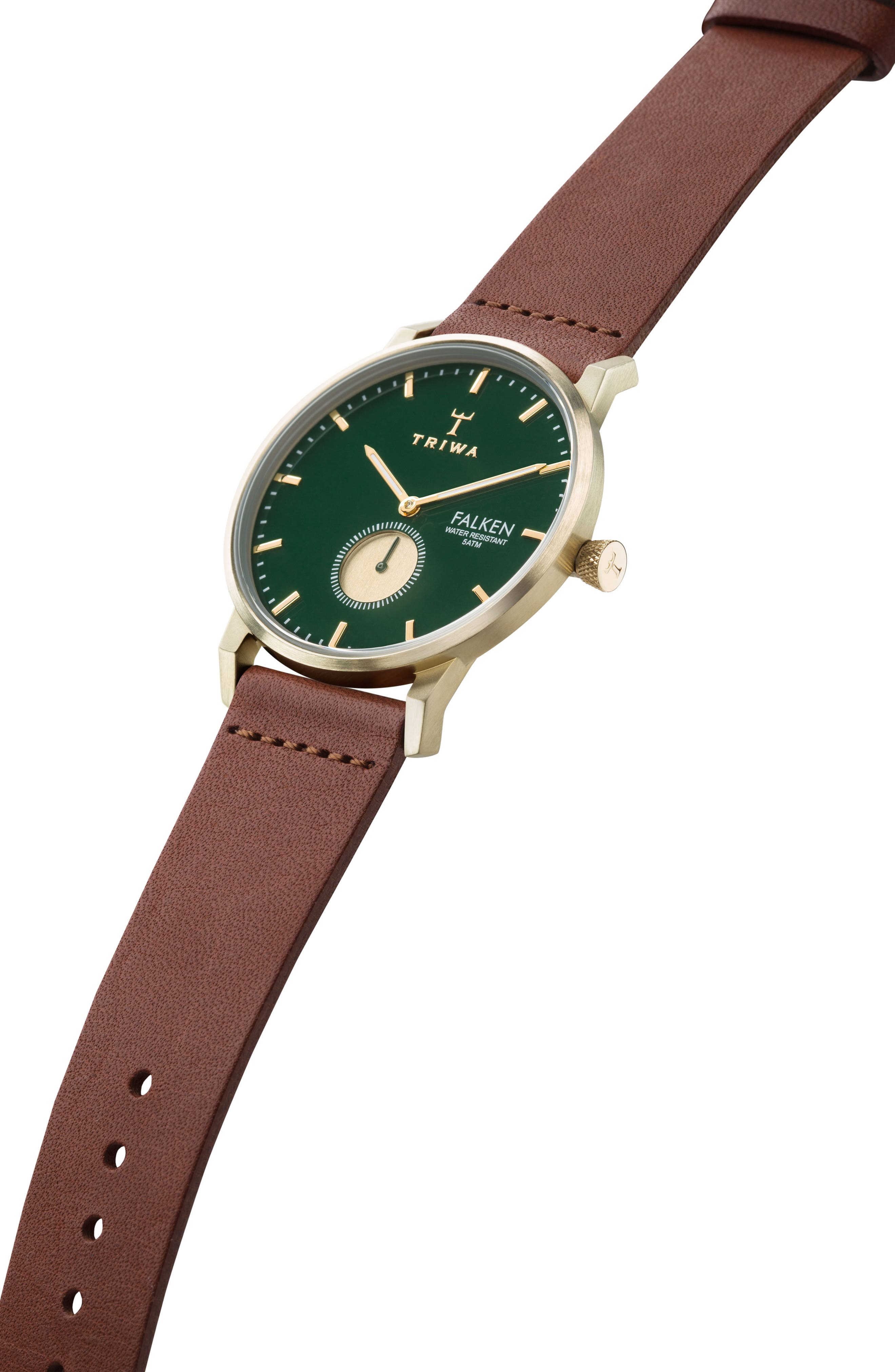 Pine Falken Organic Leather Strap Watch, 38mm,                             Alternate thumbnail 4, color,                             Brown/ Green/ Gold
