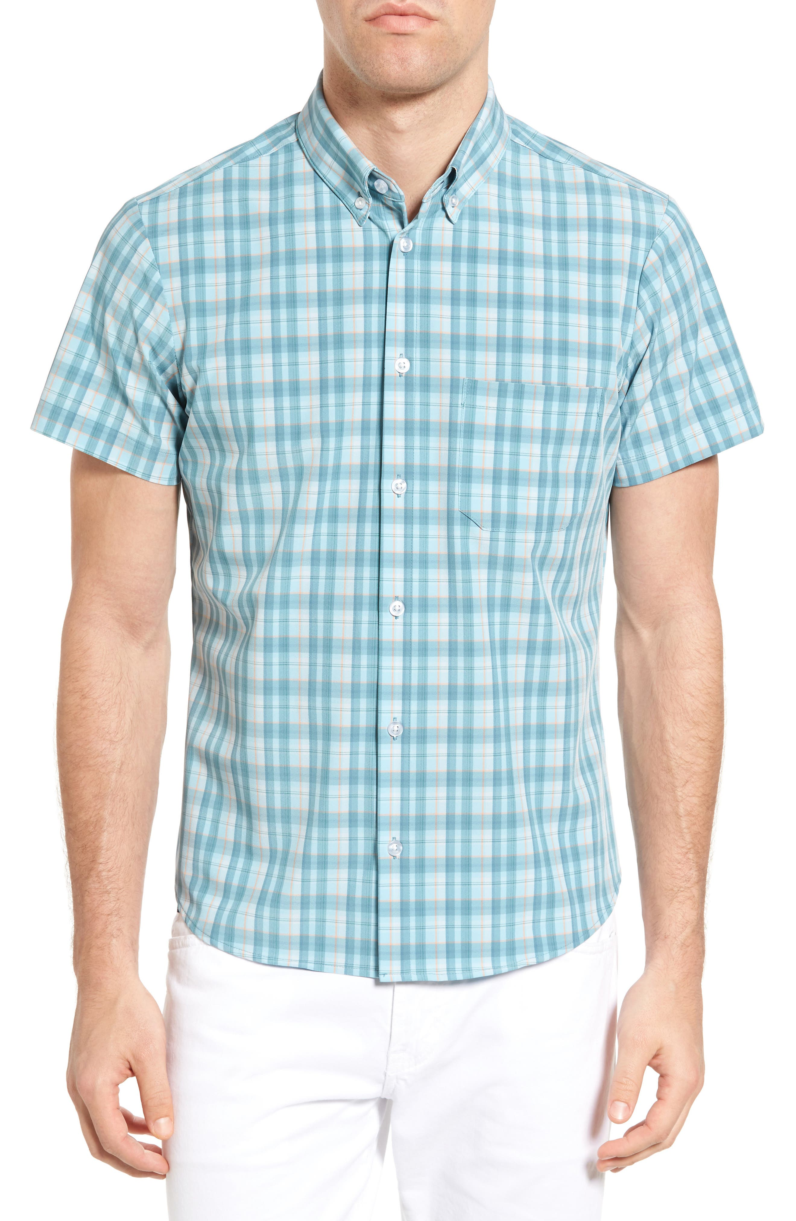 MIZZEN+MAIN Whitney Plaid Short Sleeve Sport Shirt