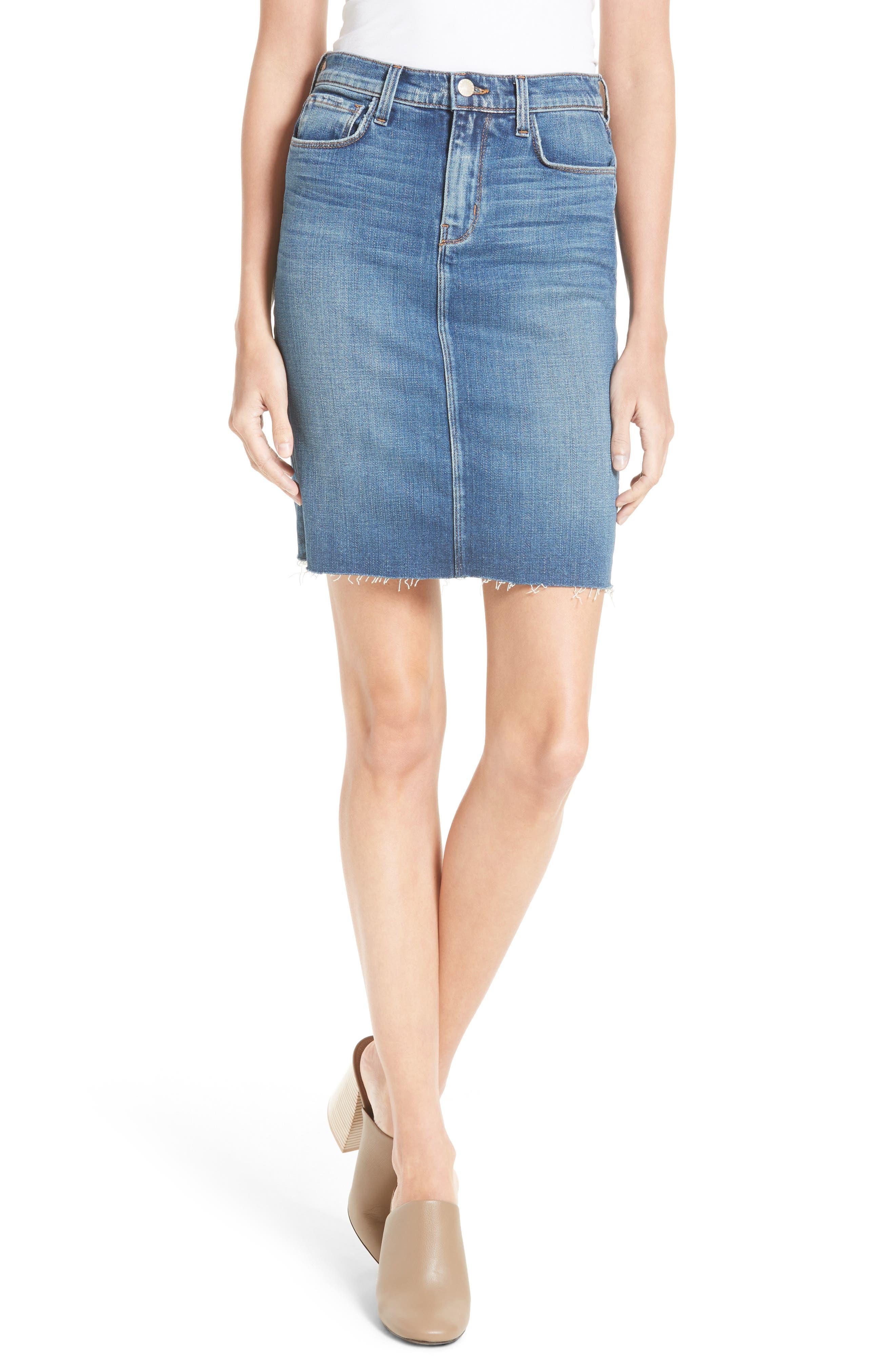 Montecito High Rise Denim Pencil Skirt,                         Main,                         color, Authentique