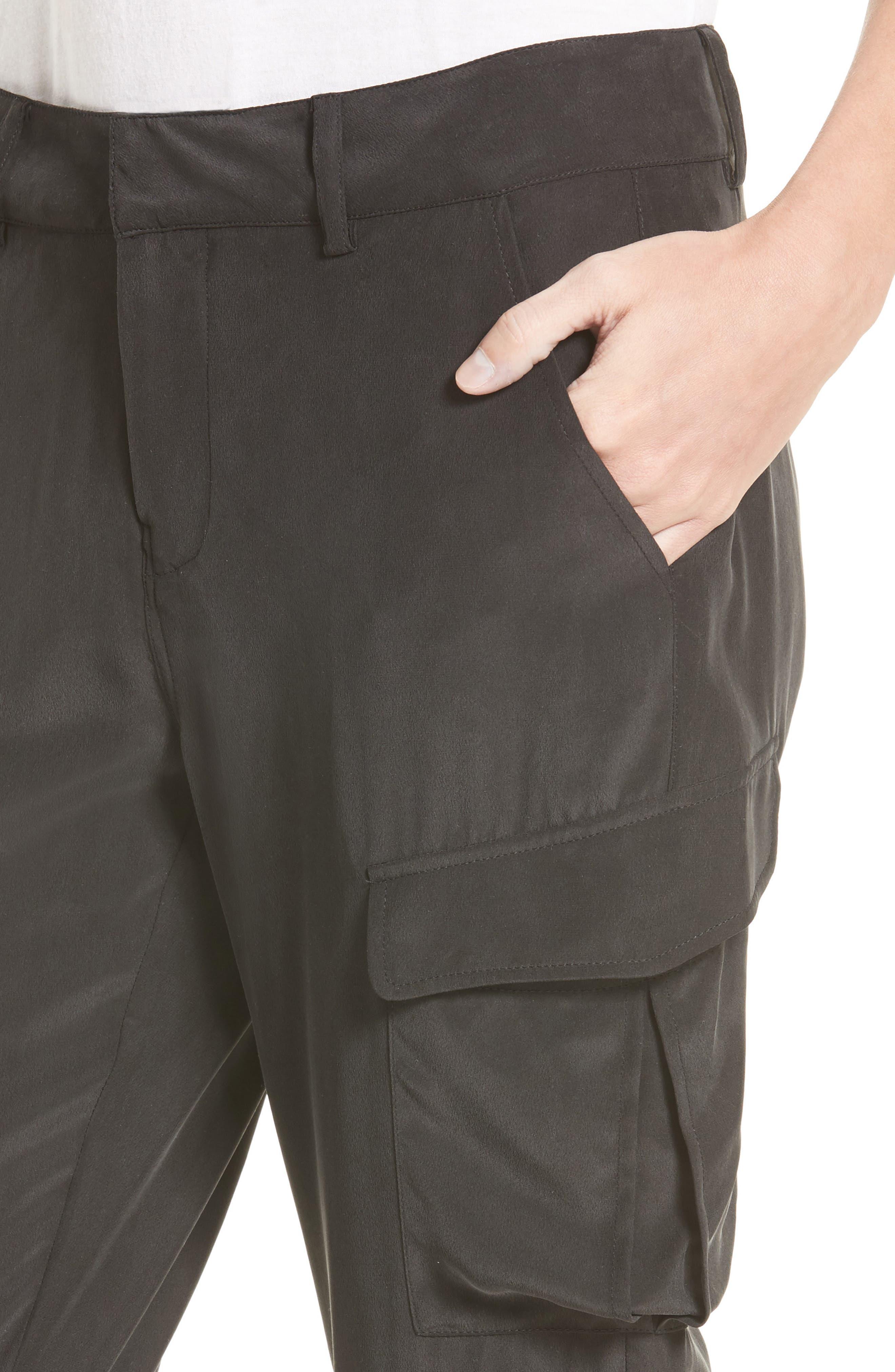 Bevin Silk Crop Cargo Pants,                             Alternate thumbnail 4, color,                             Black
