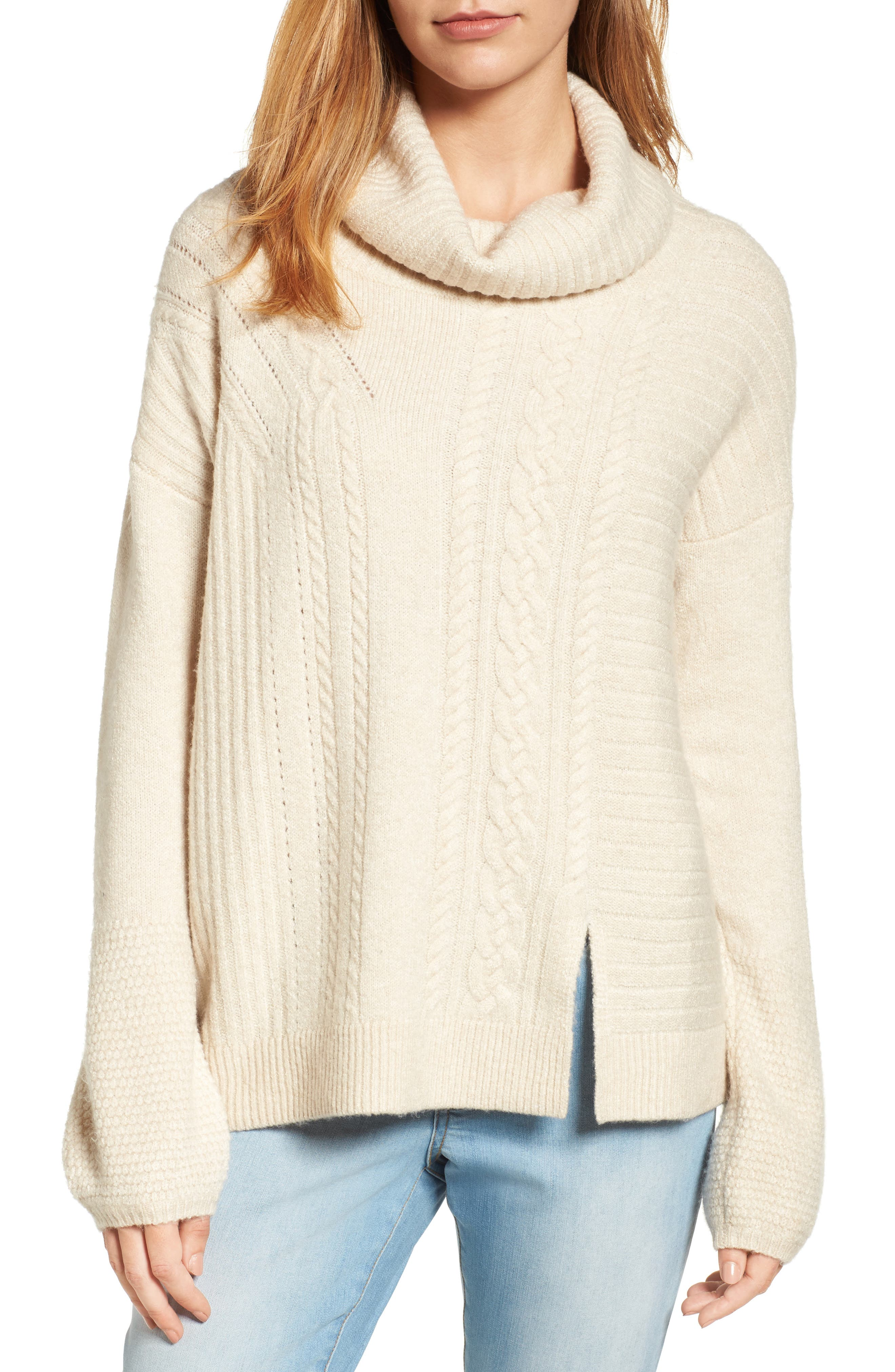 Caslon® Cabled Cowl Neck Pullover (Regular & Petite)