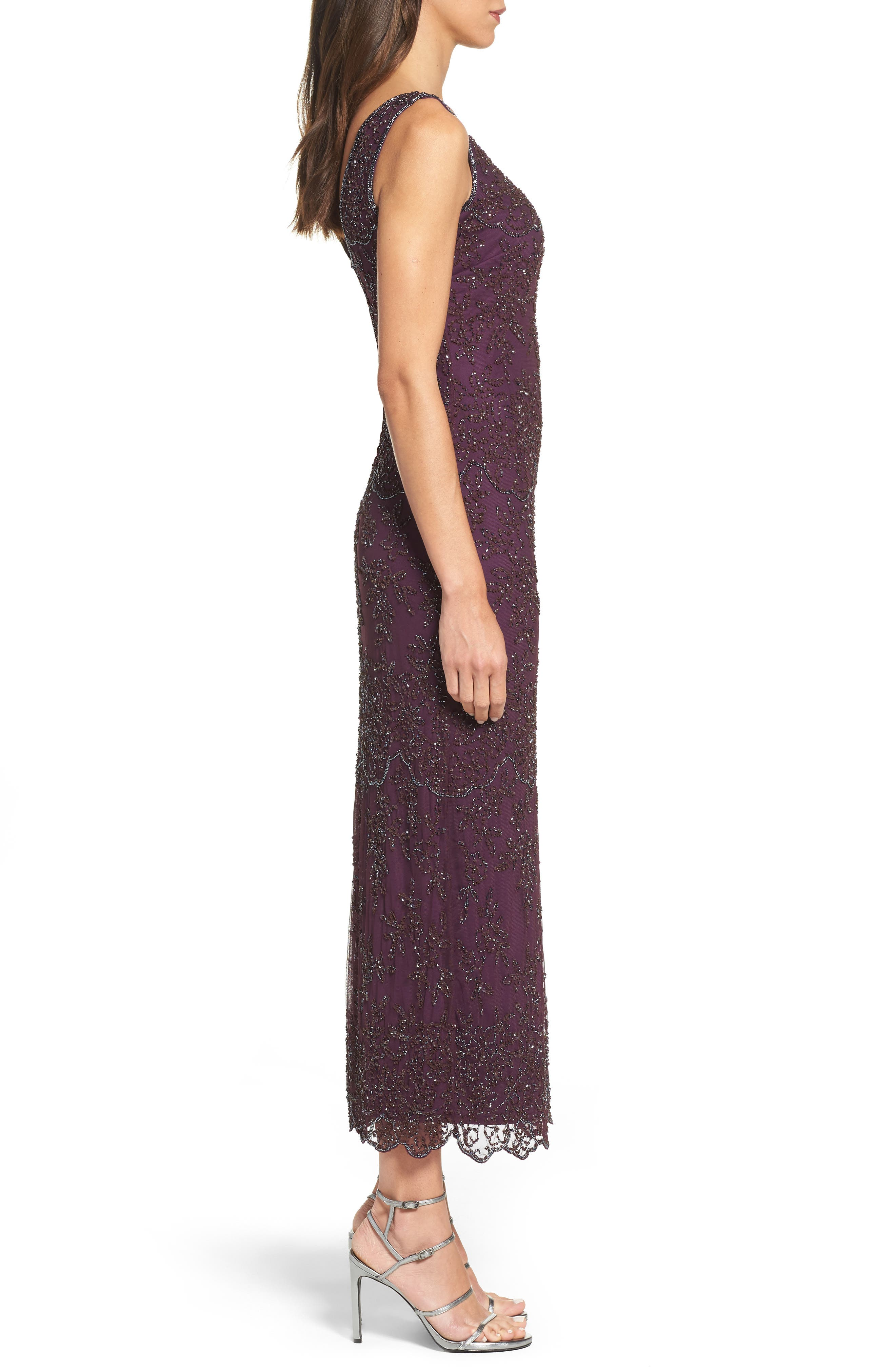 Embellished Mesh Gown,                             Alternate thumbnail 3, color,                             Purple
