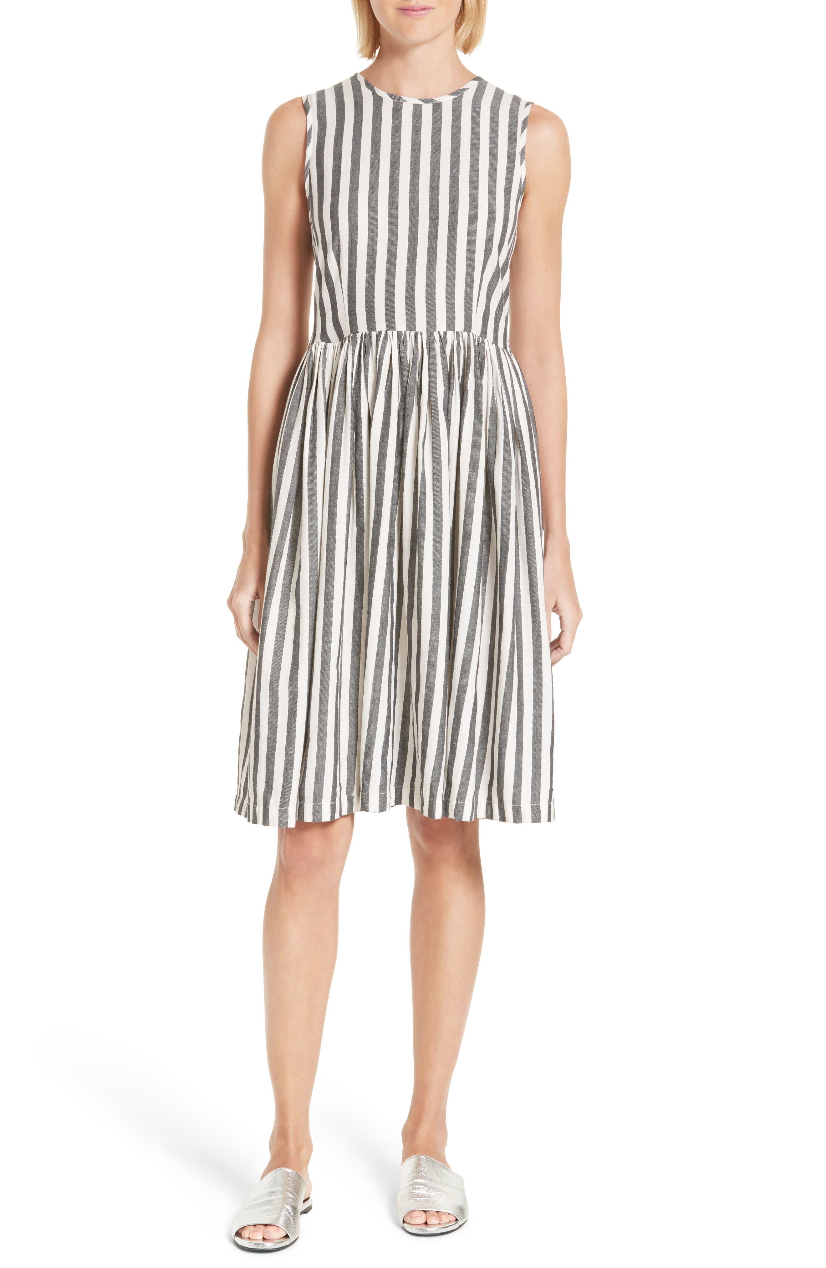 The Prairie Stripe Dress,                         Main,                         color, Black And White Stripe