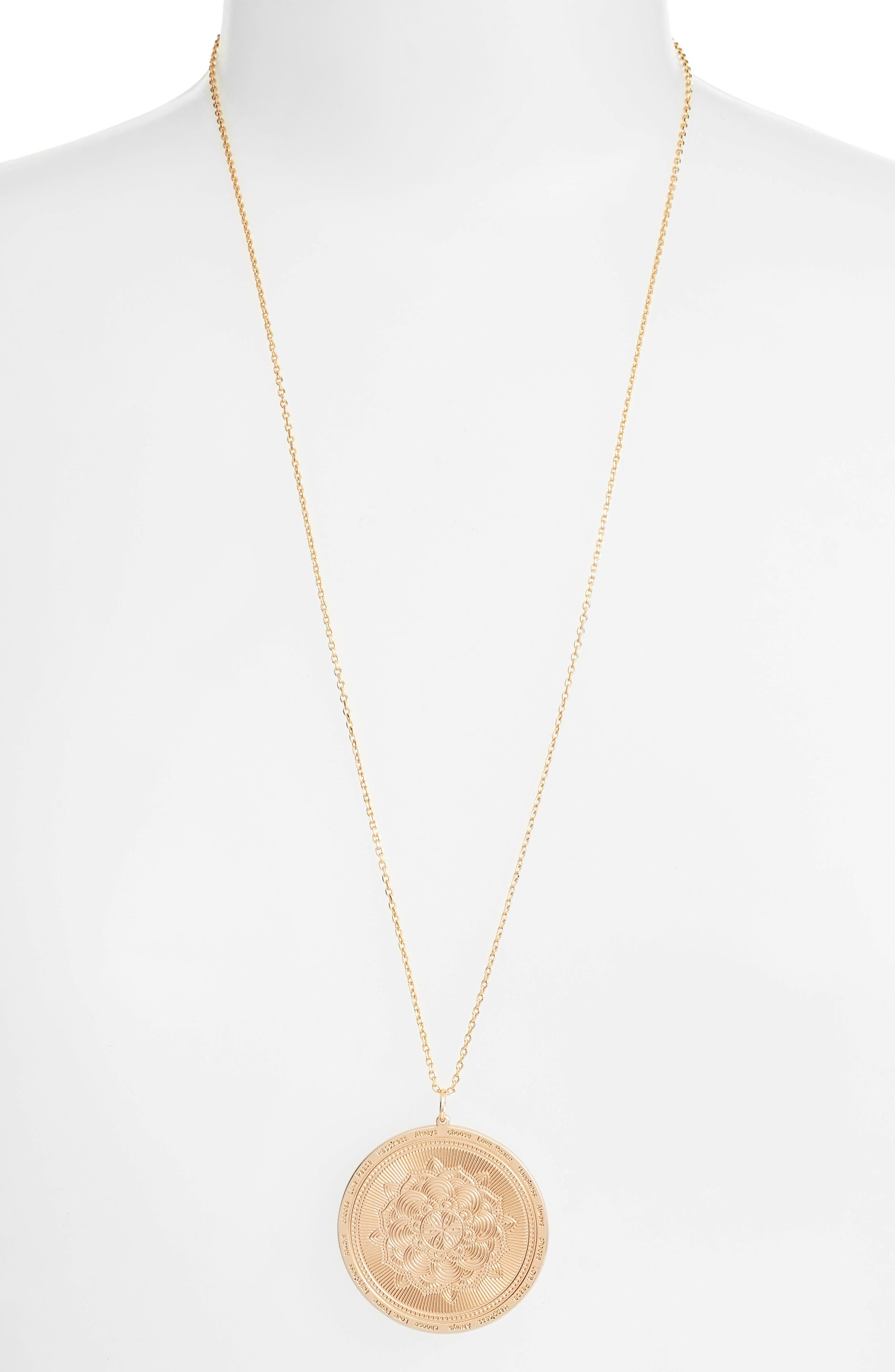 Always Choose Love Pendant Necklace,                             Alternate thumbnail 4, color,                             Rose Gold