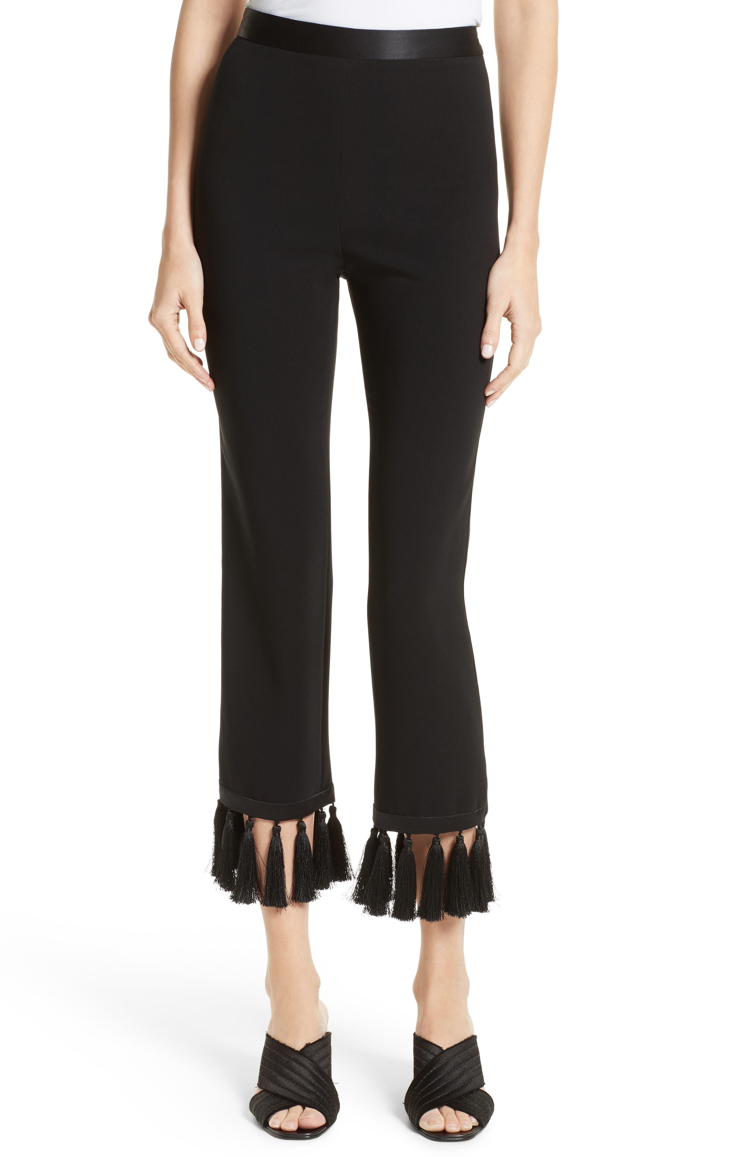 Tash Tassel Crepe Pants,                             Main thumbnail 1, color,                             Black