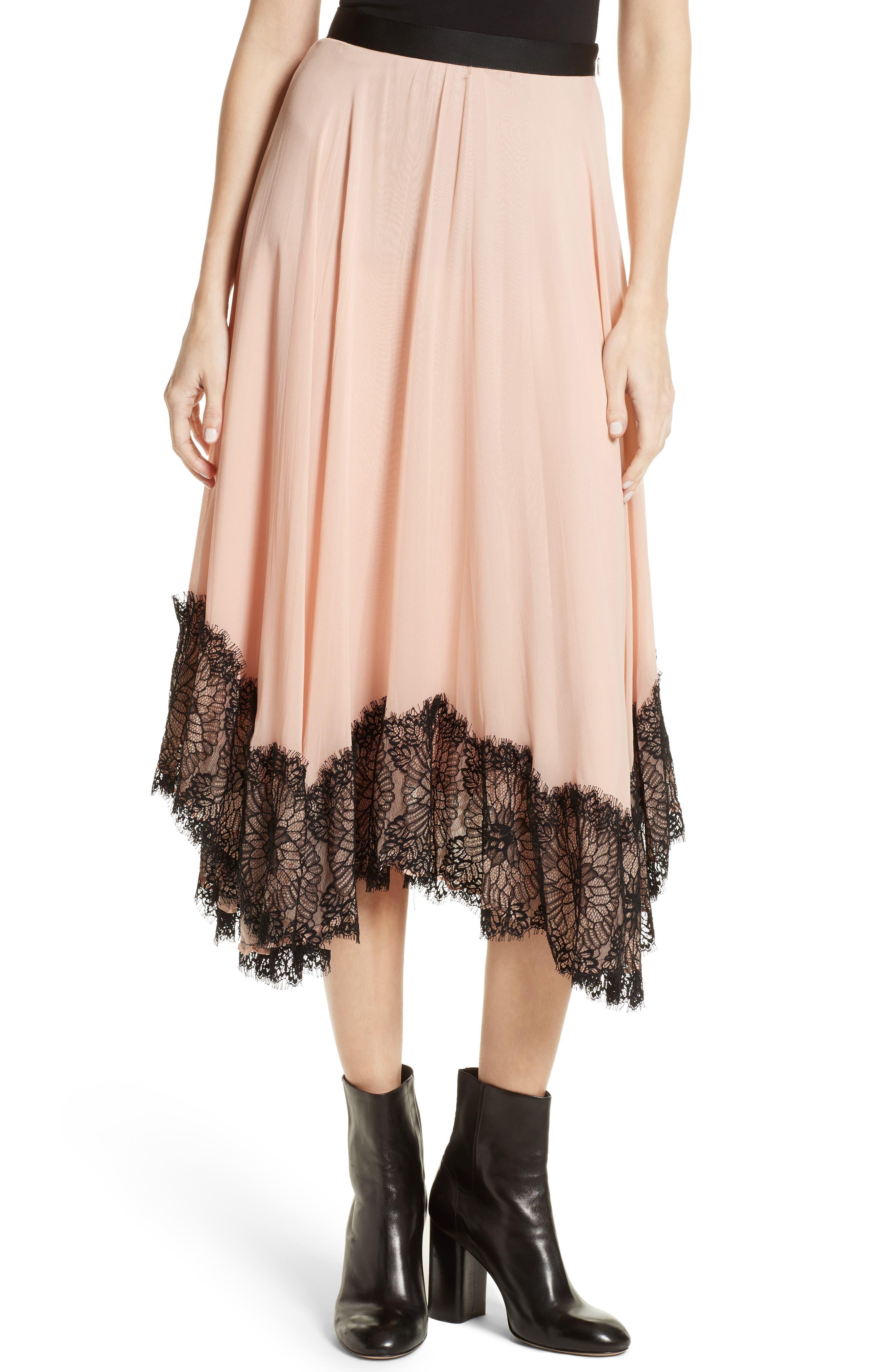 Kaya Lace Hem Skirt,                         Main,                         color, Melon/ Black