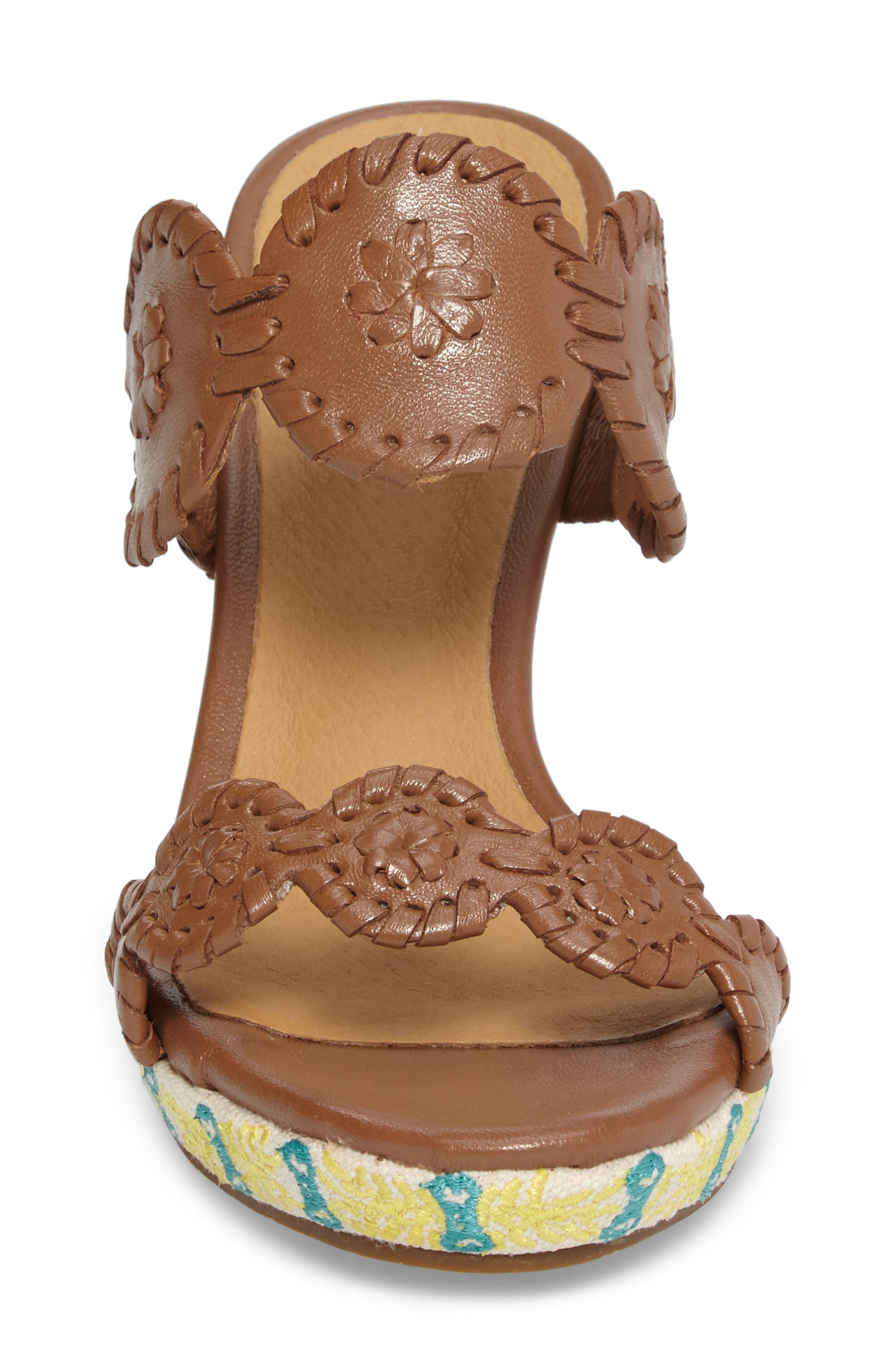 Livvy Wedge Slide Sandal,                             Alternate thumbnail 4, color,                             Cognac Leather