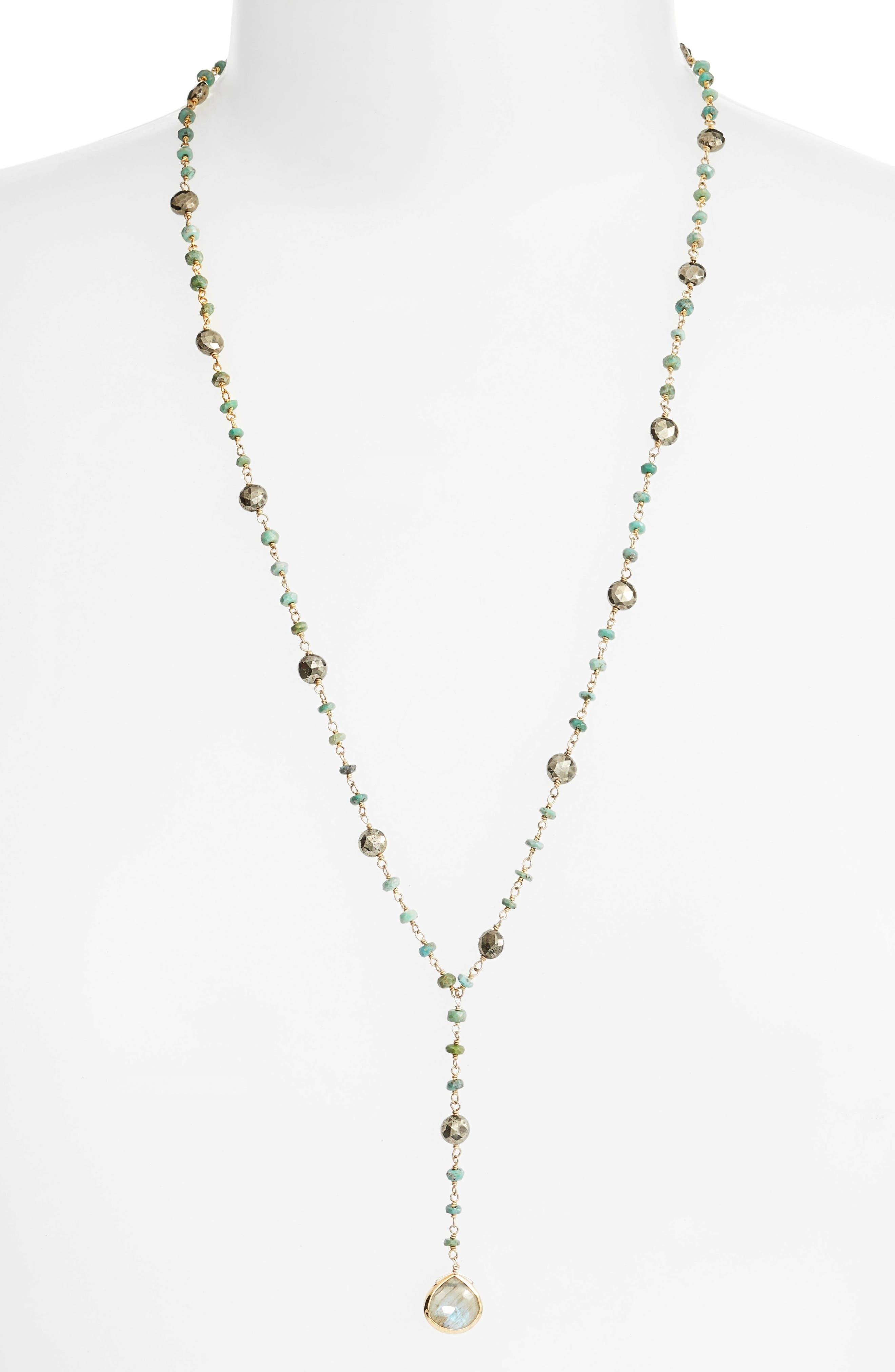 Yaeli Satellite 24 Semiprecious Stone Y-Necklace,                             Main thumbnail 1, color,                             Turquoise / Labradorite