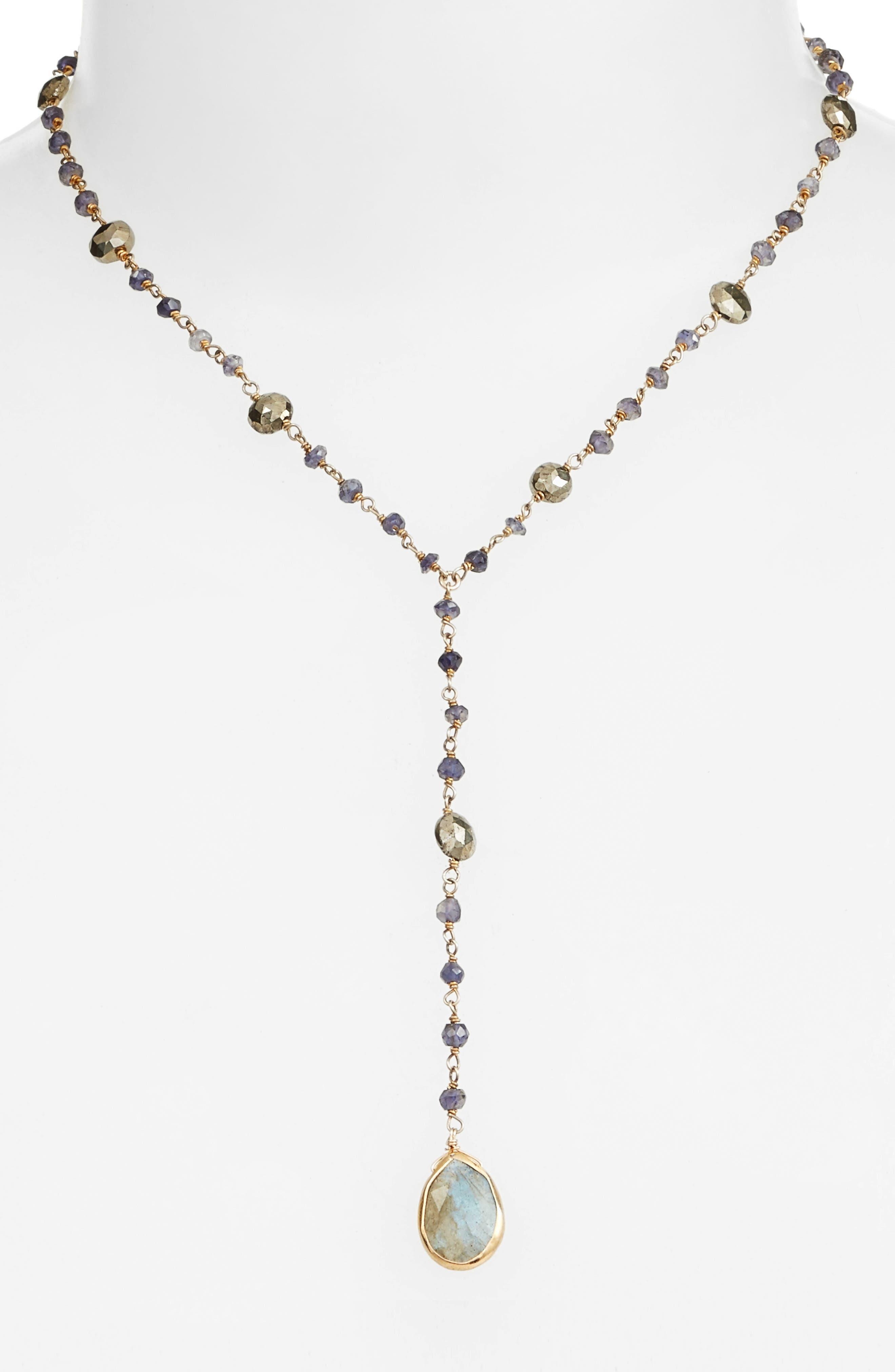 Yaeli Midi Satellite Semiprecious Stone Y-Necklace,                             Main thumbnail 1, color,                             Iolite / Pyrite