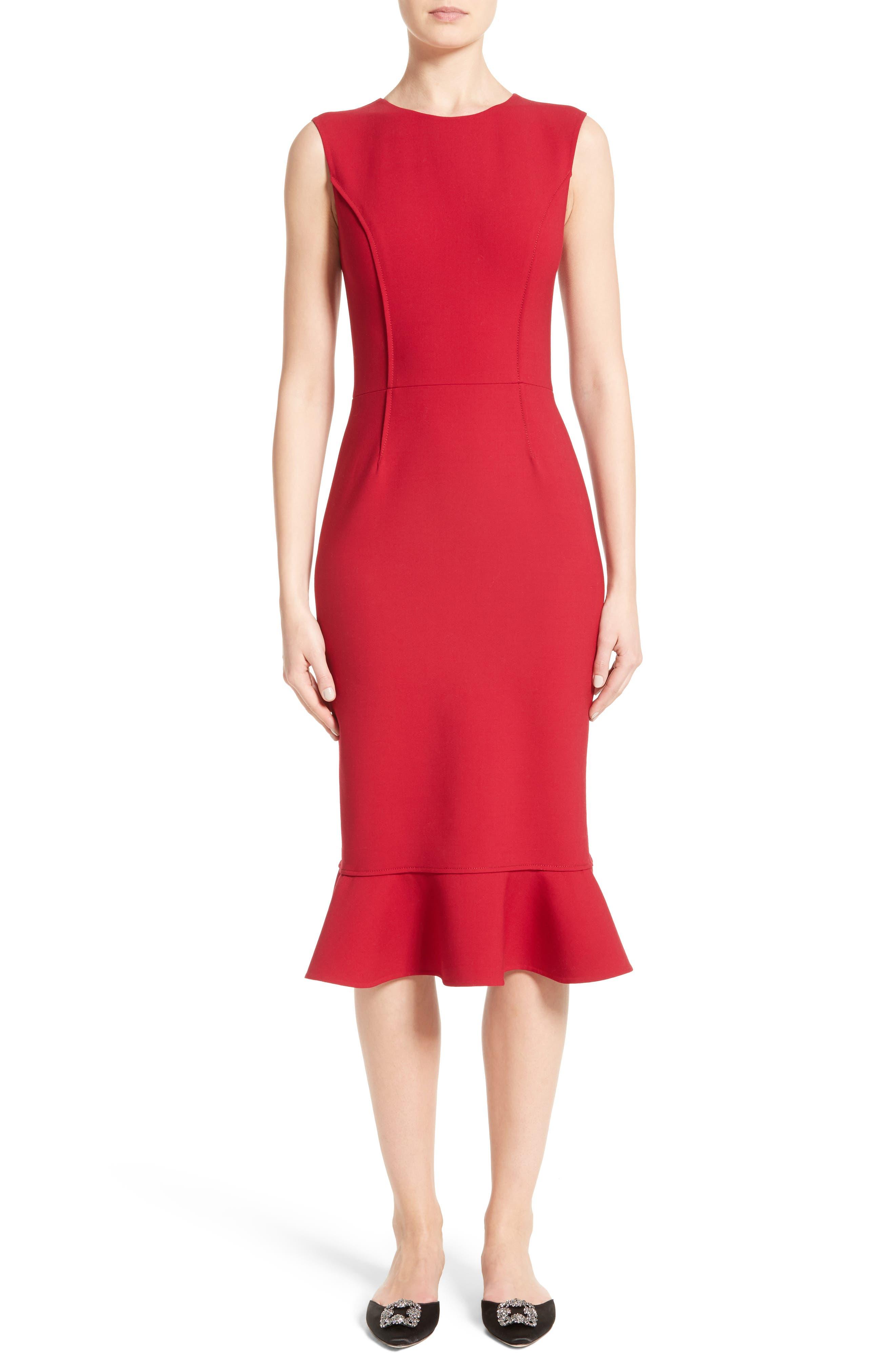 Stretch Crepe Sheath Dress,                             Main thumbnail 1, color,                             Garnet