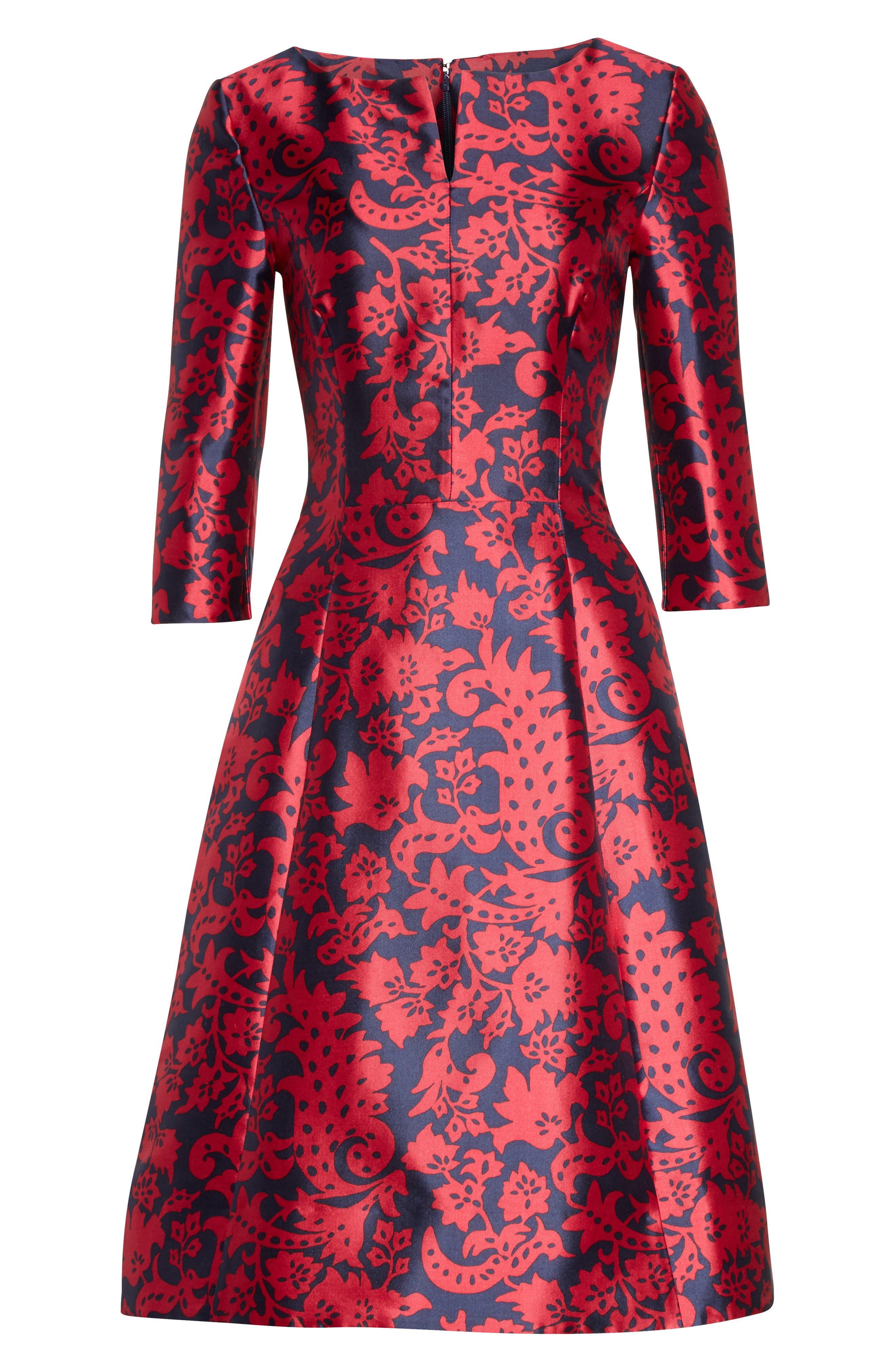 Print Mikado Fit & Flare Dress,                             Alternate thumbnail 4, color,                             Navy/ Garnet