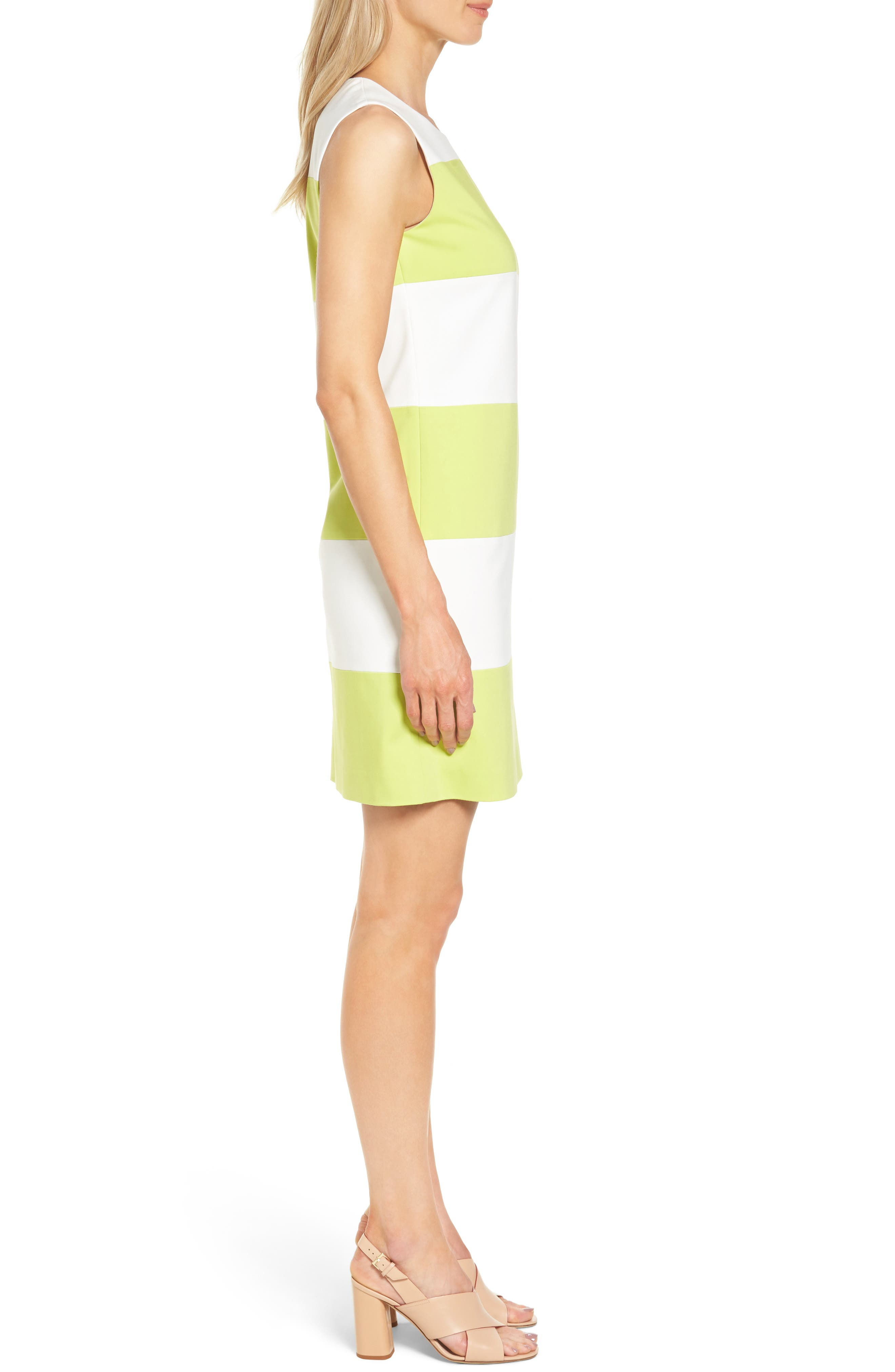 Colorblock Shift Dress,                             Alternate thumbnail 3, color,                             White/ Sprout