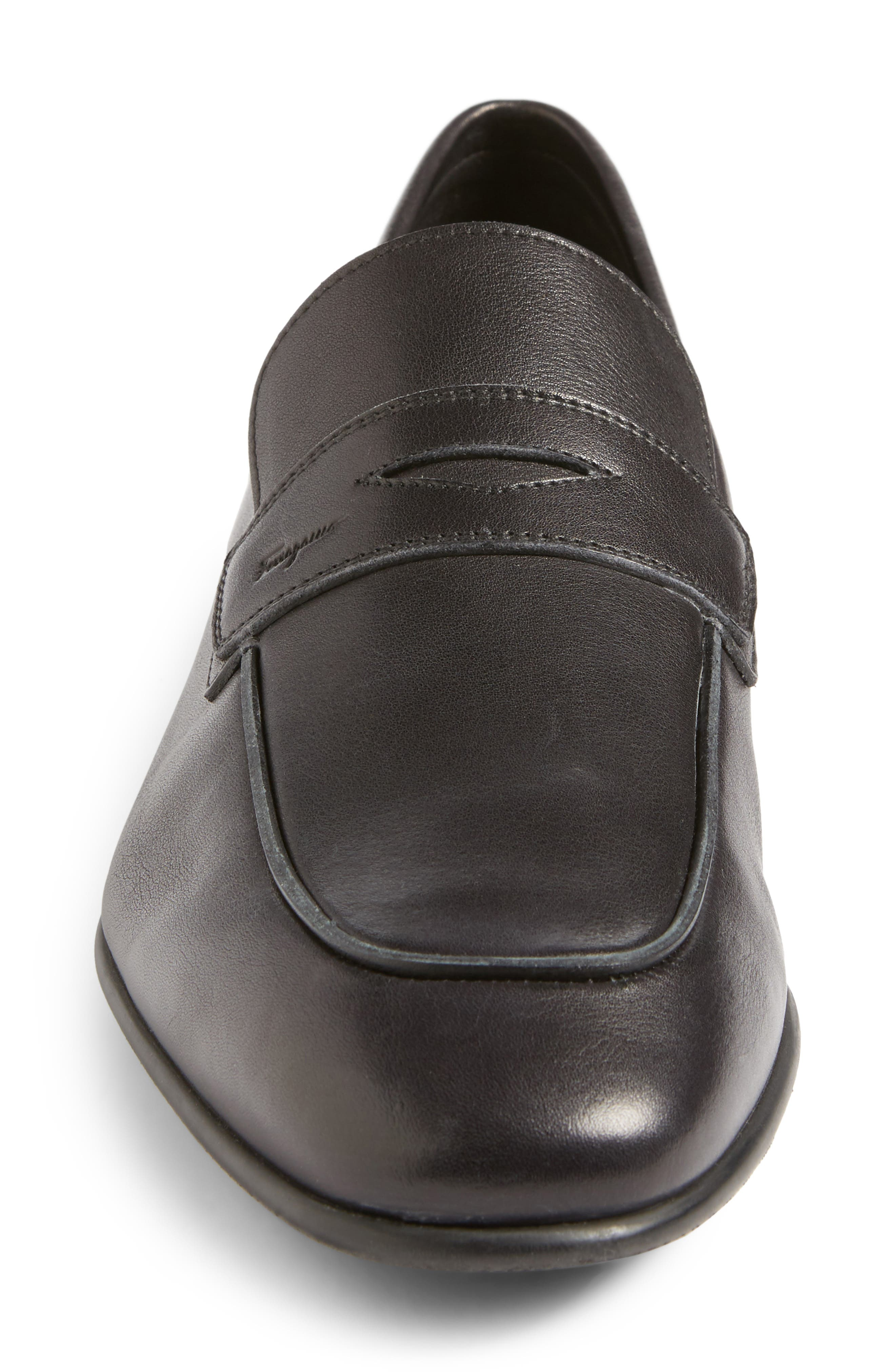 Duchamp Penny Loafer,                             Alternate thumbnail 4, color,                             Nero Leather