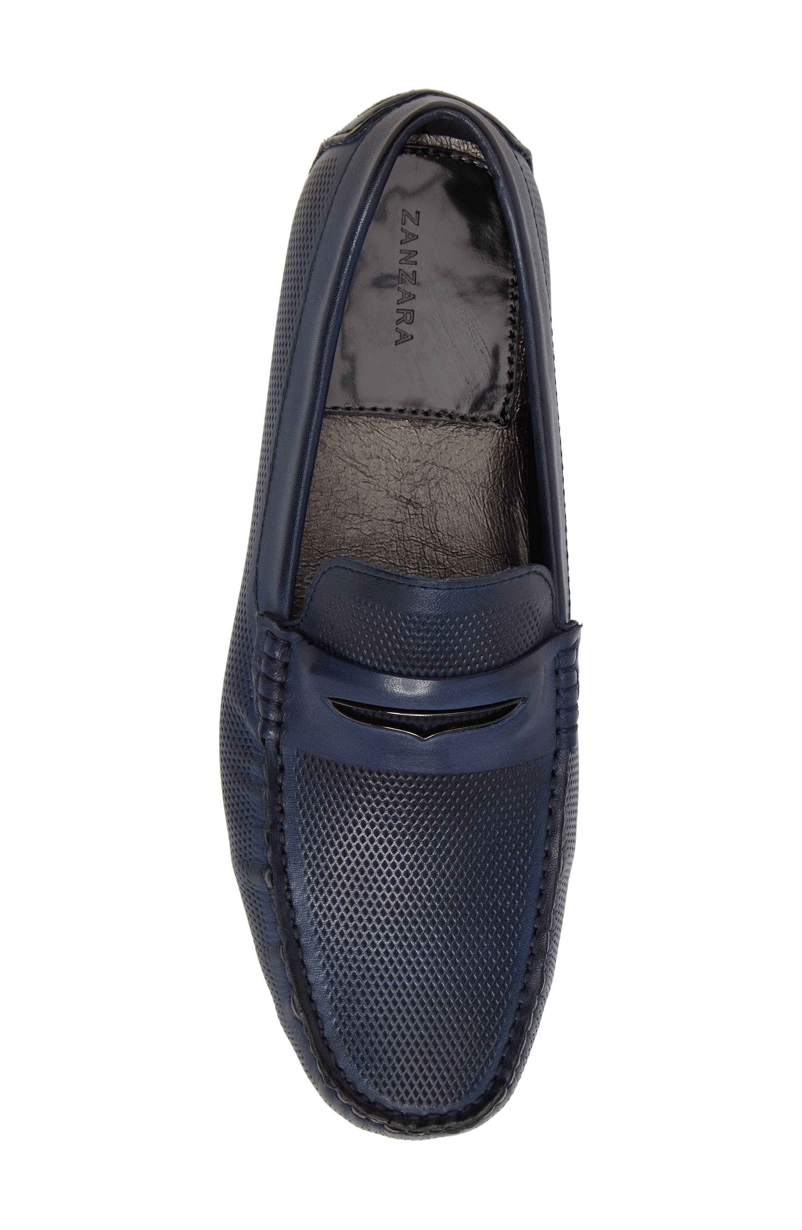 Mondrian Driving Shoe,                             Alternate thumbnail 5, color,                             Blue Leather